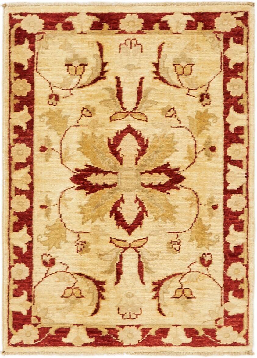 One-of-a-Kind Huntingdon Hand-Knotted  2' x 3' Wool Beige/Red Area Rug