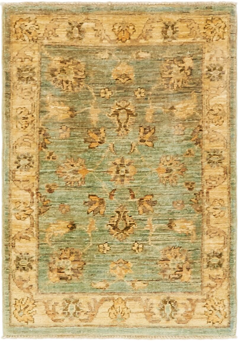 One-of-a-Kind Huntingdon Hand-Knotted  2' x 3' Wool Teal/Beige Area Rug