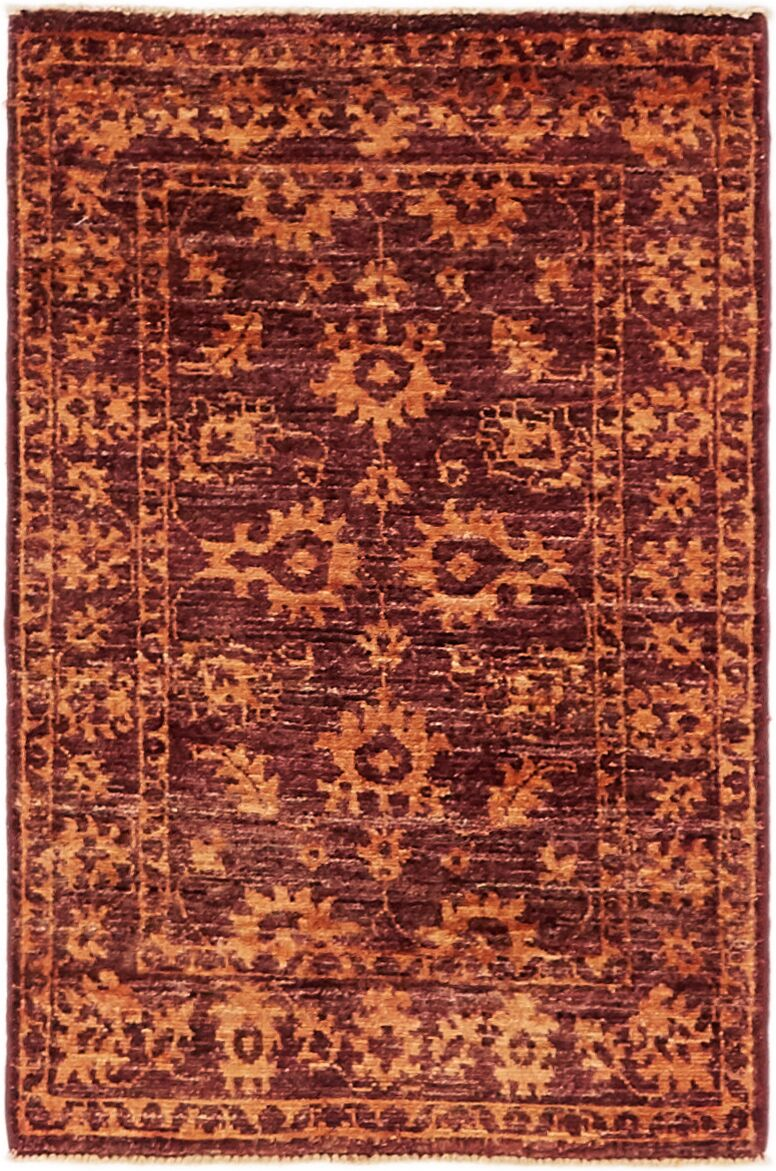 One-of-a-Kind Huntingdon Hand-Knotted  2' x 3' Wool Maroon Area Rug