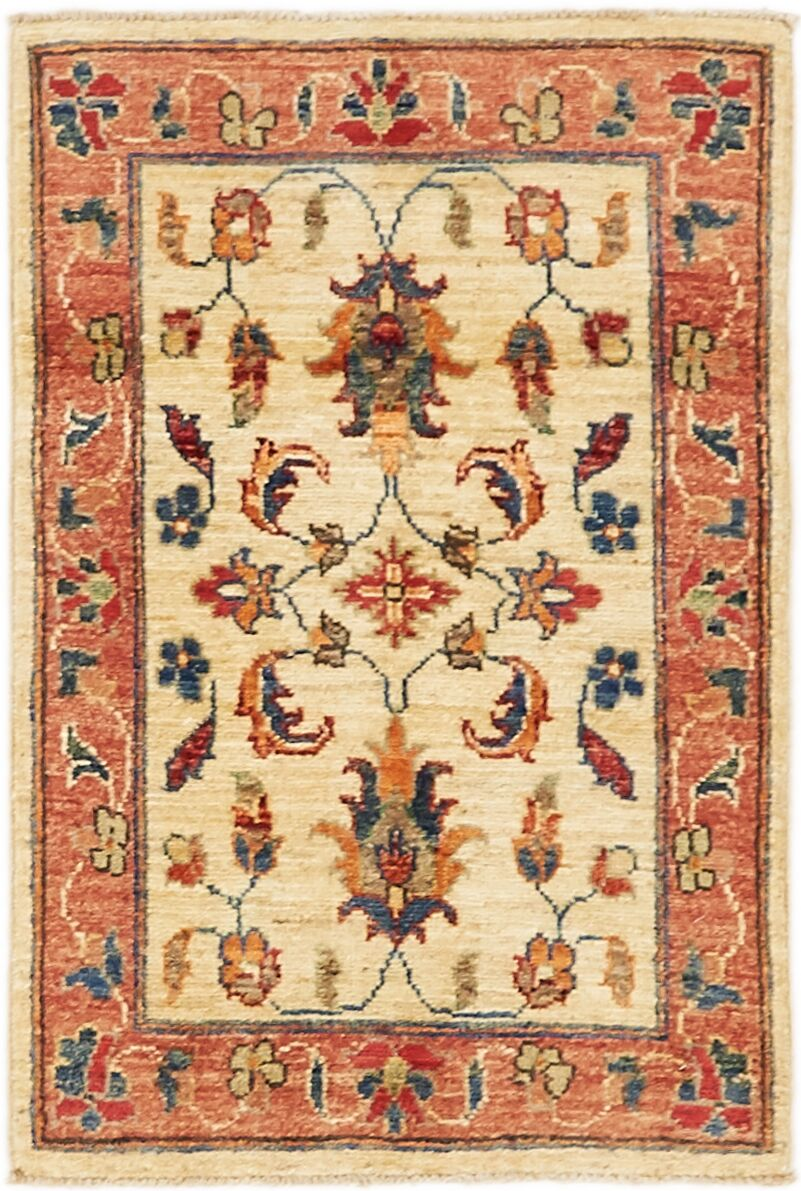 One-of-a-Kind Huntingdon Hand-Knotted  2' x 3' Wool Ivory/Peach Area Rug