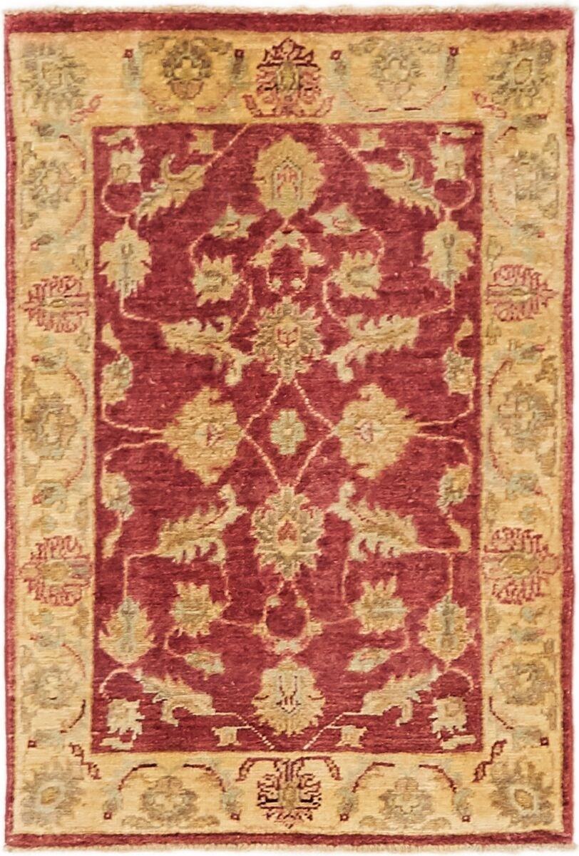 One-of-a-Kind Huntingdon Hand-Knotted  2' x 3' Wool Burgundy/Beige Area Rug