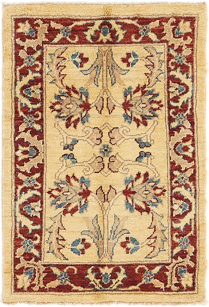 One-of-a-Kind Huntingdon Hand-Knotted  2' x 3' Wool Beige/Rut Red Area Rug