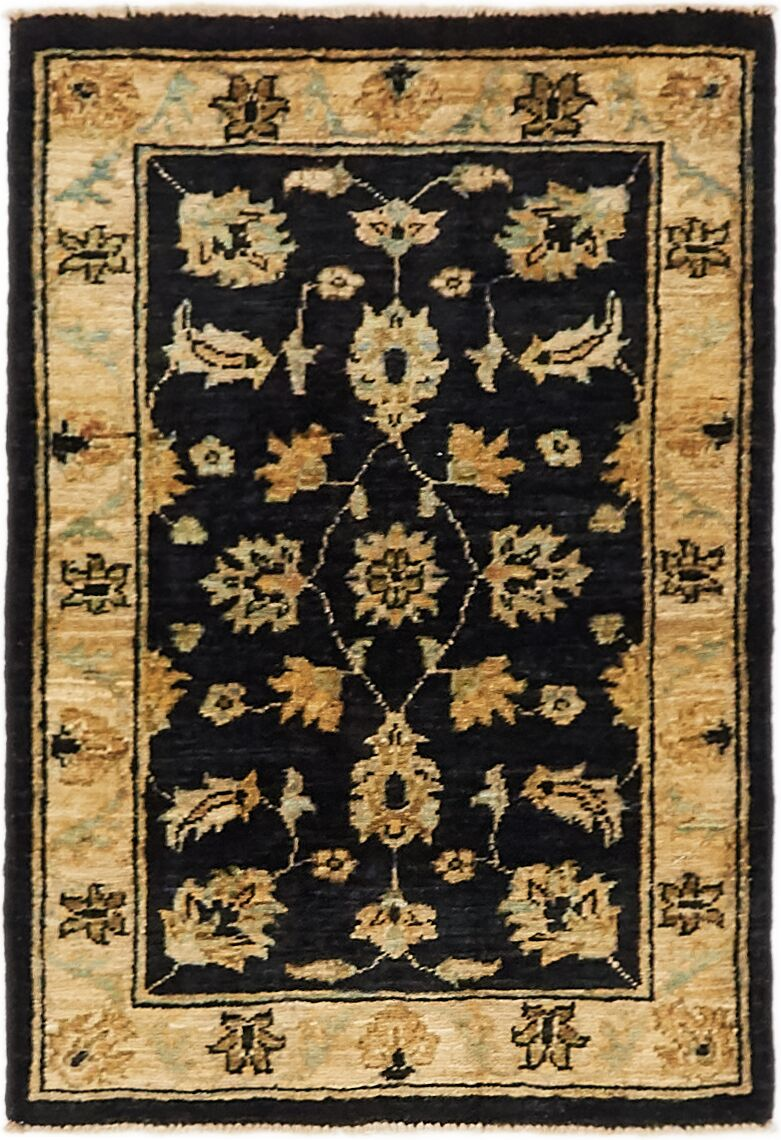 One-of-a-Kind Huntingdon Hand-Knotted  2' x 3' Wool Black/Beige Area Rug