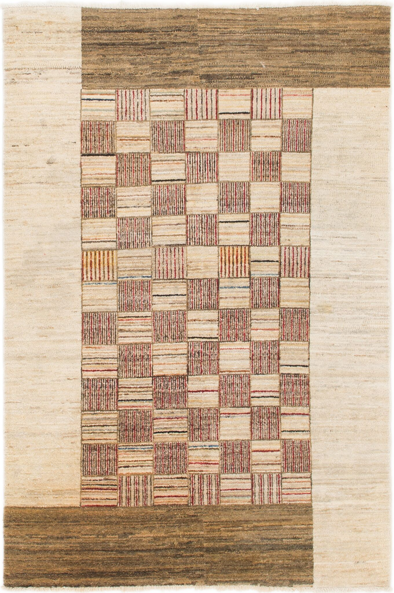 One-of-a-Kind Nash Hand-Knotted  4' x 6' Wool Cream/Brown Area Rug