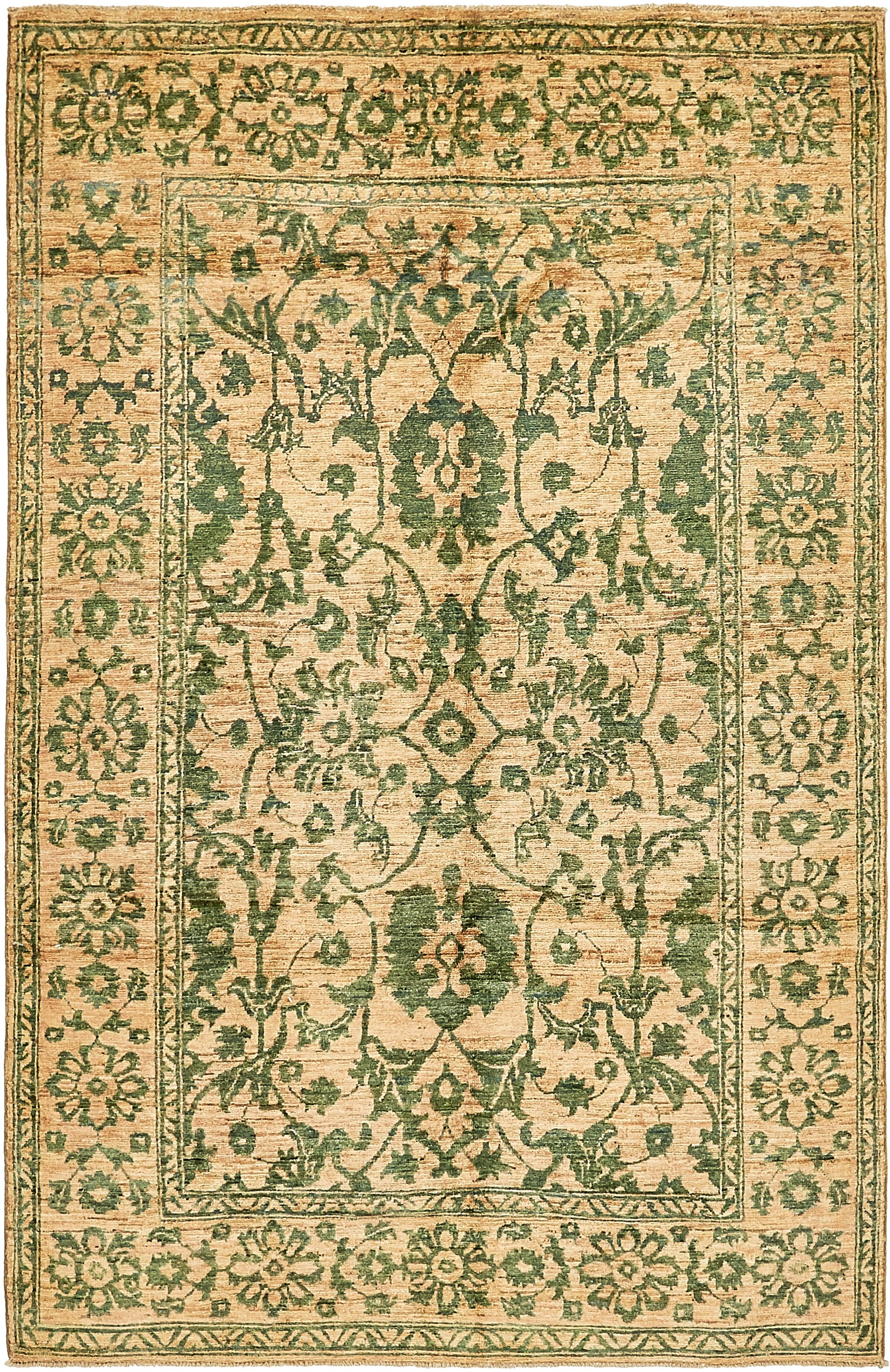 One-of-a-Kind Huntingdon Hand-Knotted  5' x 8' Wool Beige/Green Area Rug
