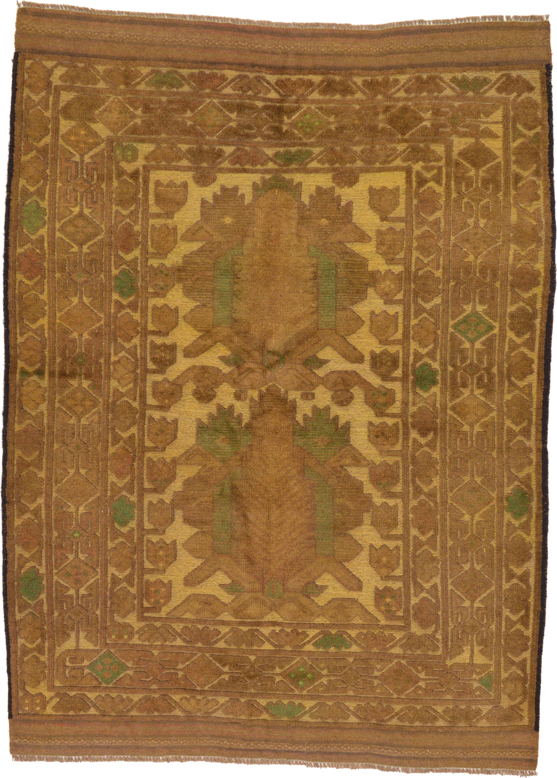 One-of-a-Kind Earley Hand-Knotted 4'2