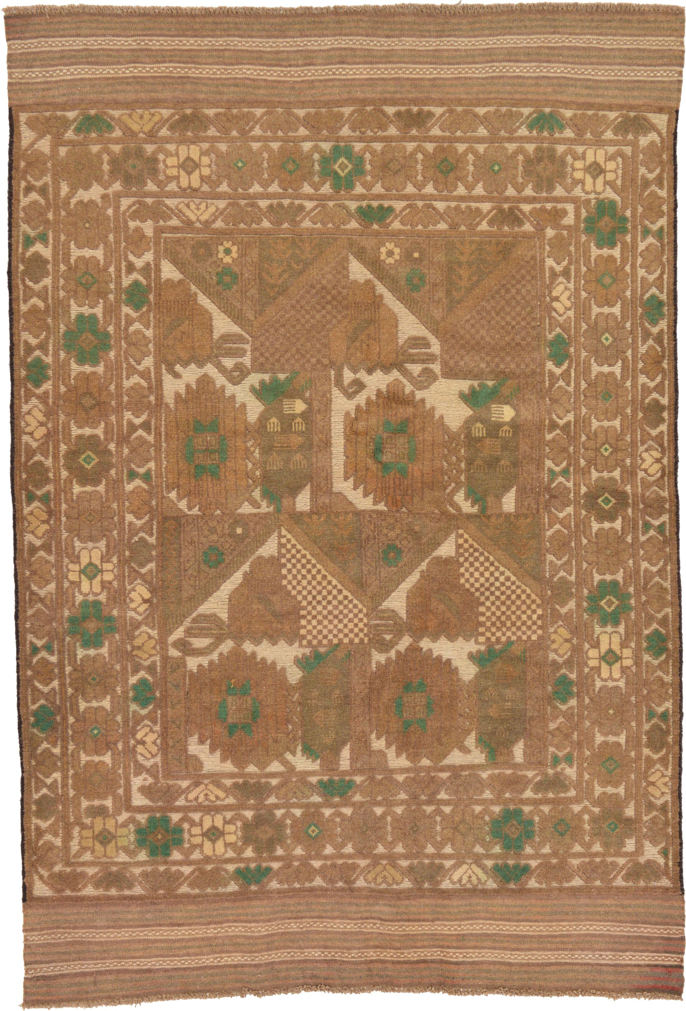 One-of-a-Kind Earley Hand-Knotted 4' x 6' Wool Beige/Green Area Rug