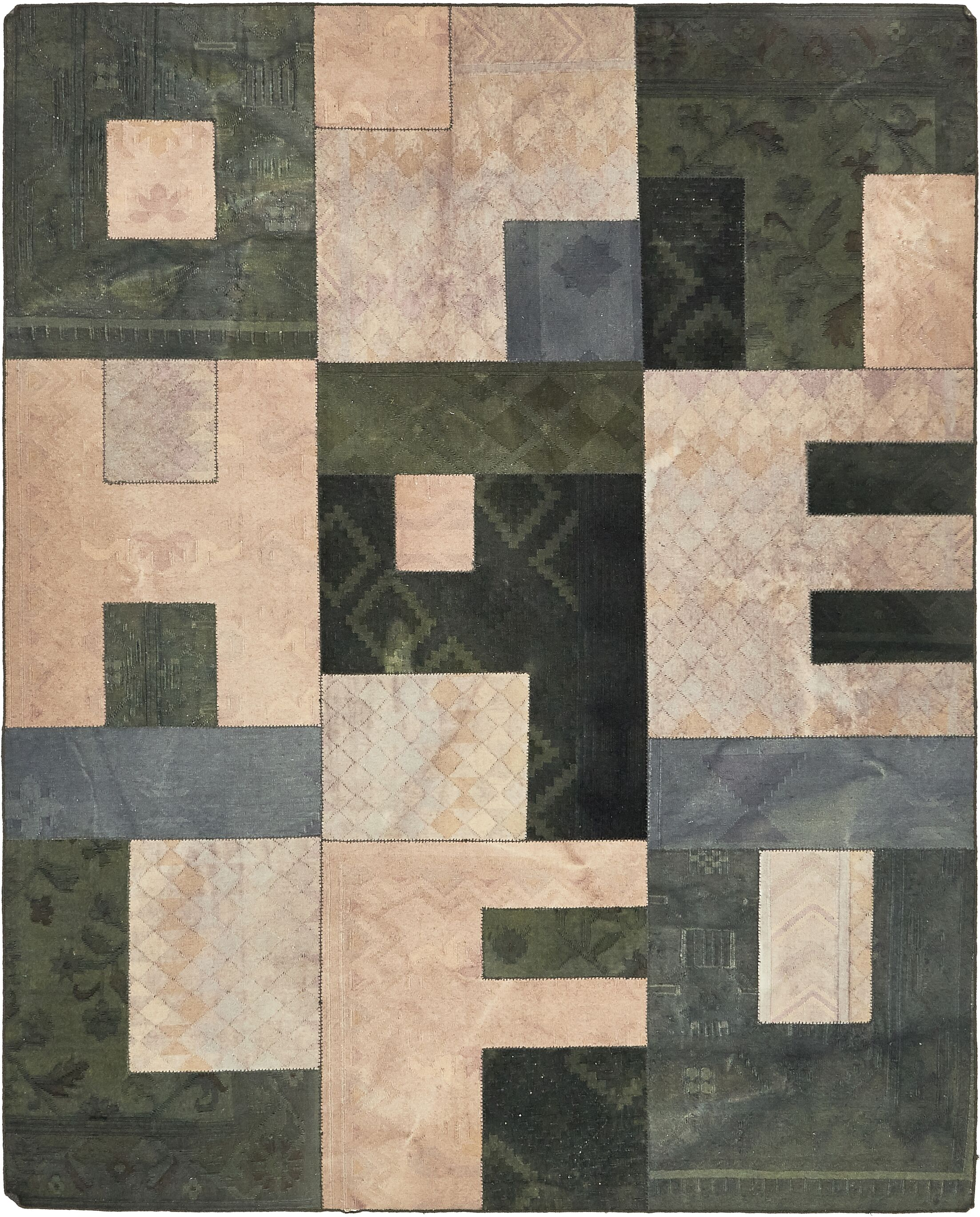 One-of-a-Kind Middlewich Hand-Knotted Wool Green/Beige Area Rug