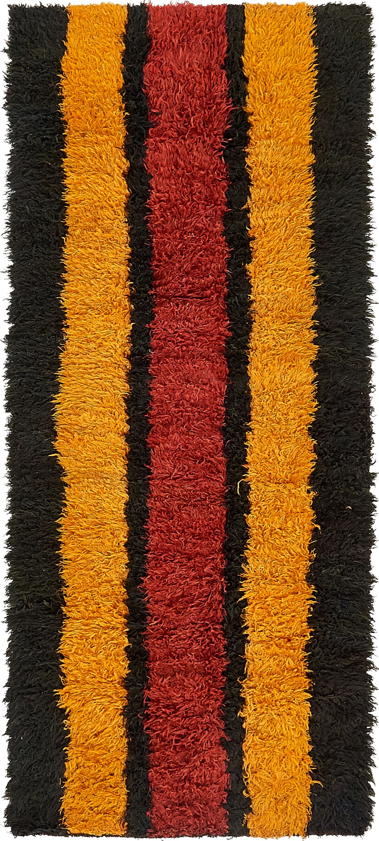 One-of-a-Kind Thirsk Hand-Knotted Wool Orange/Red/Black Area Rug
