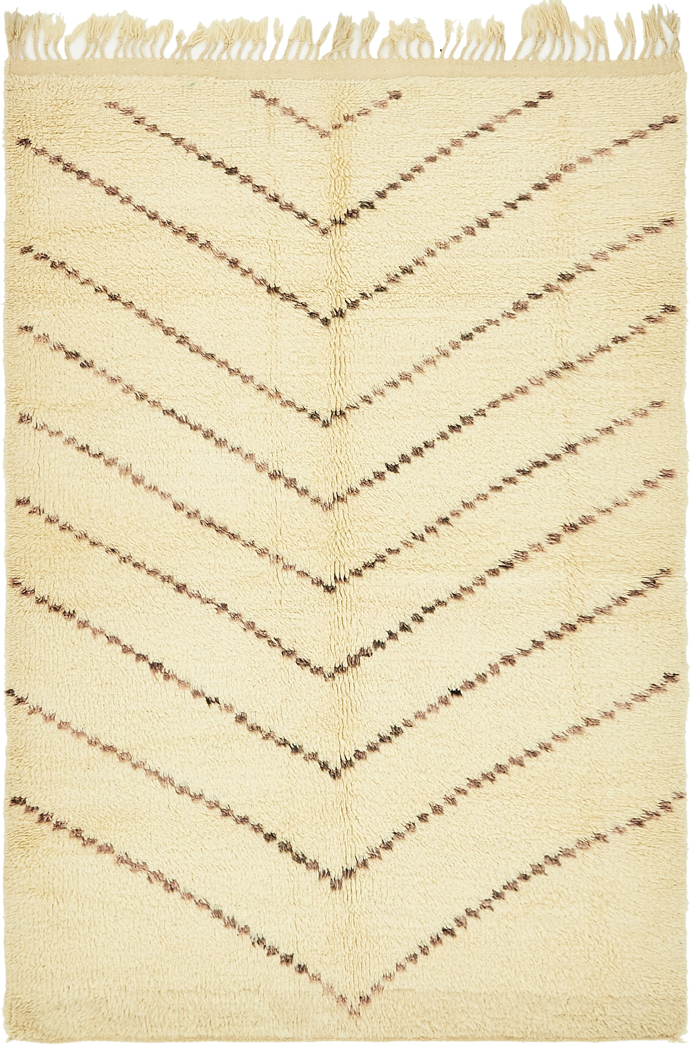 One-of-a-Kind Tott and Eling Hand-Knotted Wool Beige Area Rug