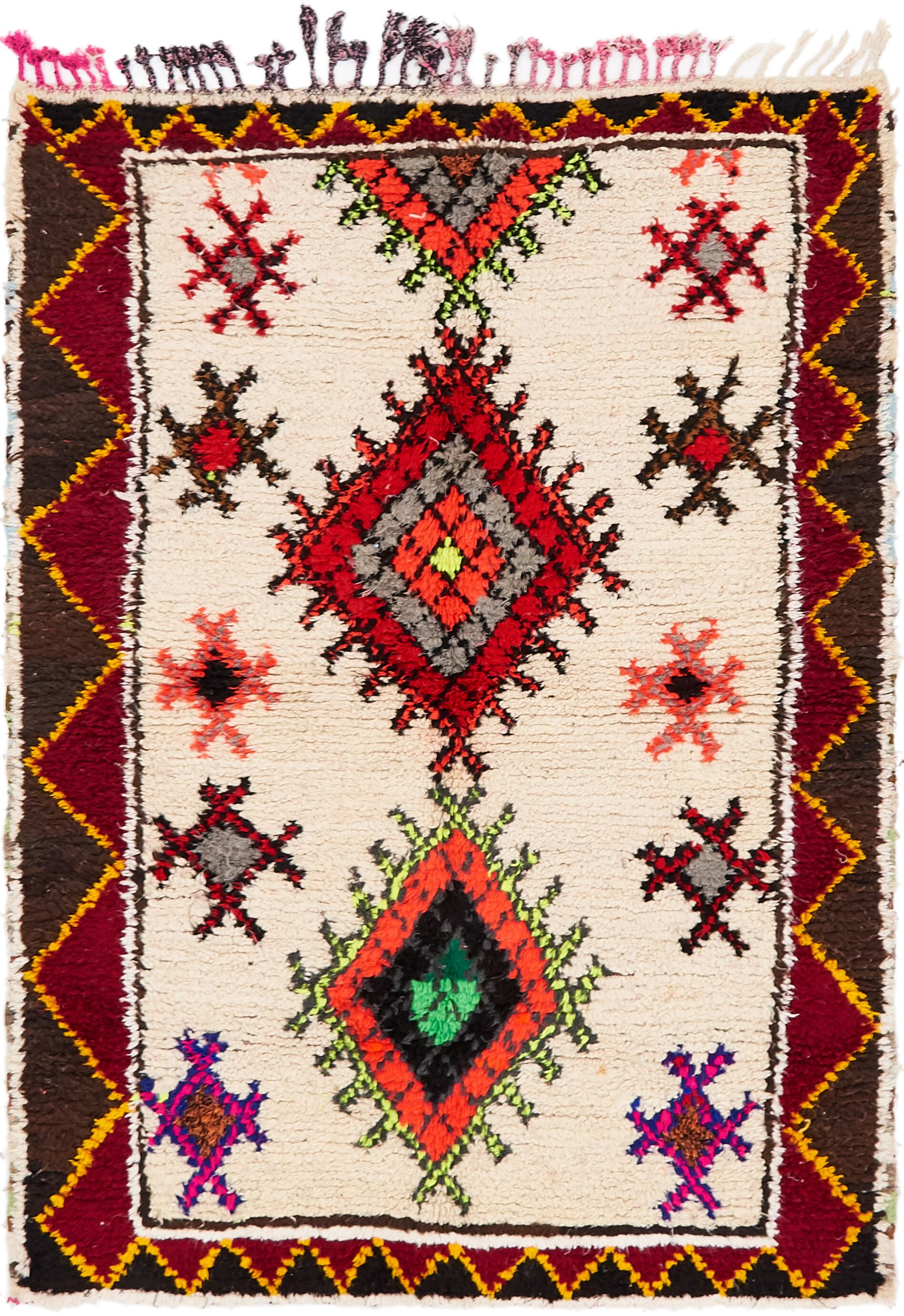 One-of-a-Kind Kettering Hand-Knotted Wool Beige/Red Area Rug