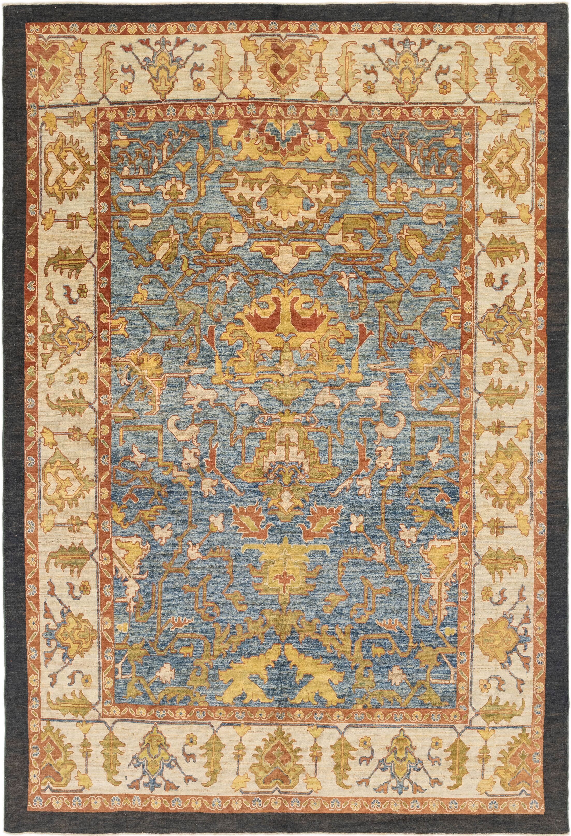 One-of-a-Kind Mart Hand-Knotted Wool Blue/Green/Beige Area Rug