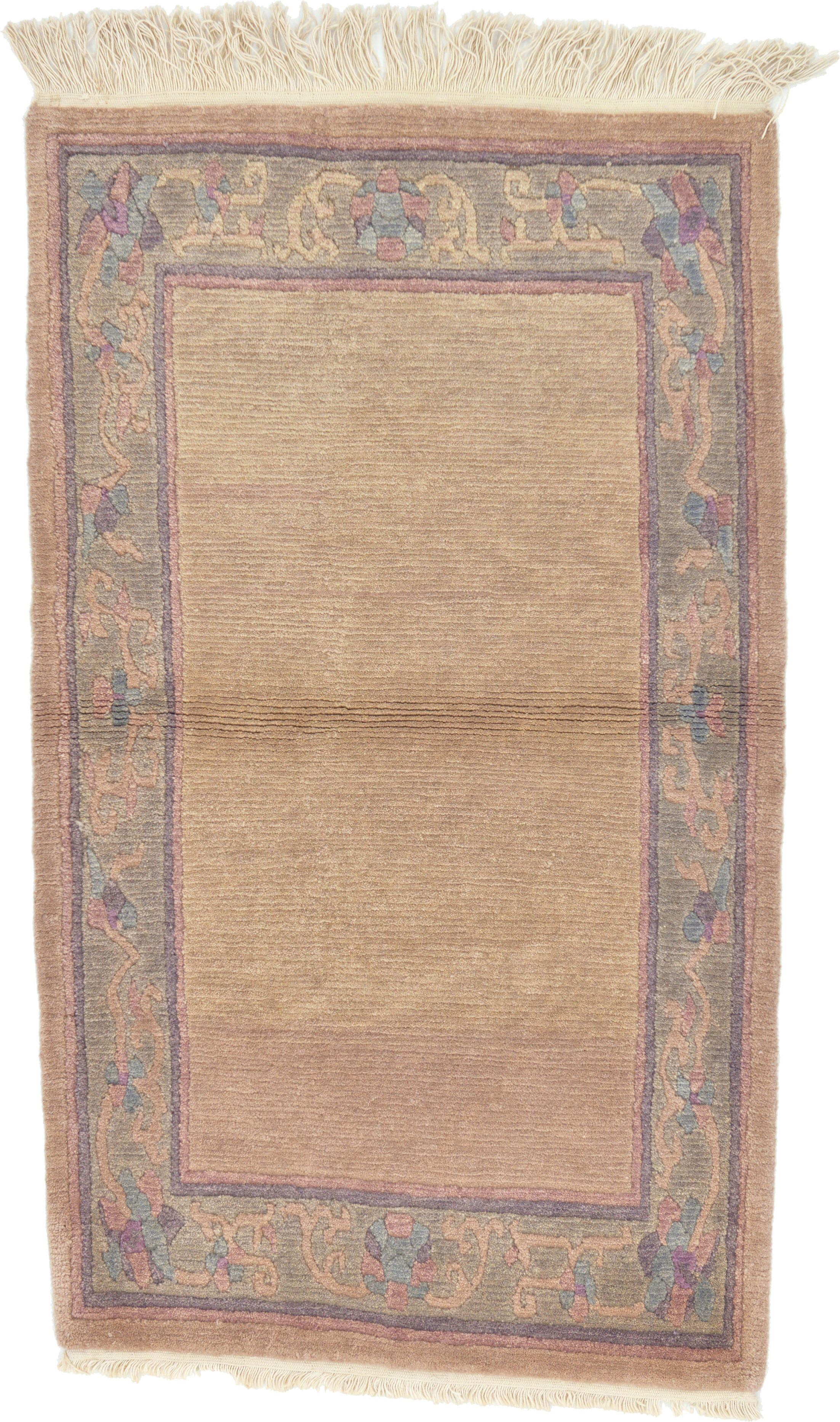 One-of-a-Kind Ollert Hand-Knotted Wool Beige/Purple Area Rug