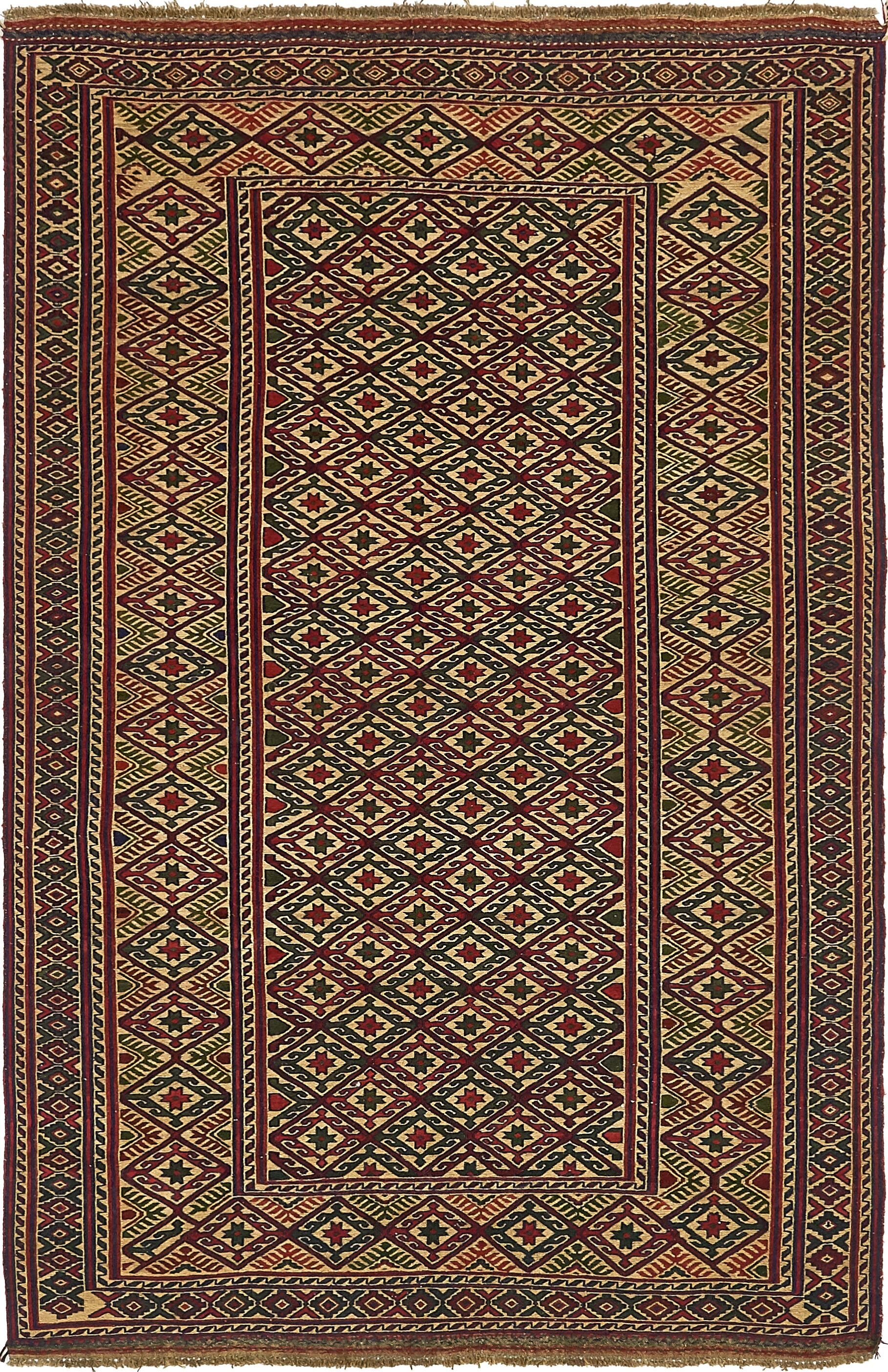 One-of-a-Kind Earley Hand-Knotted Wool Red/Green Area Rug