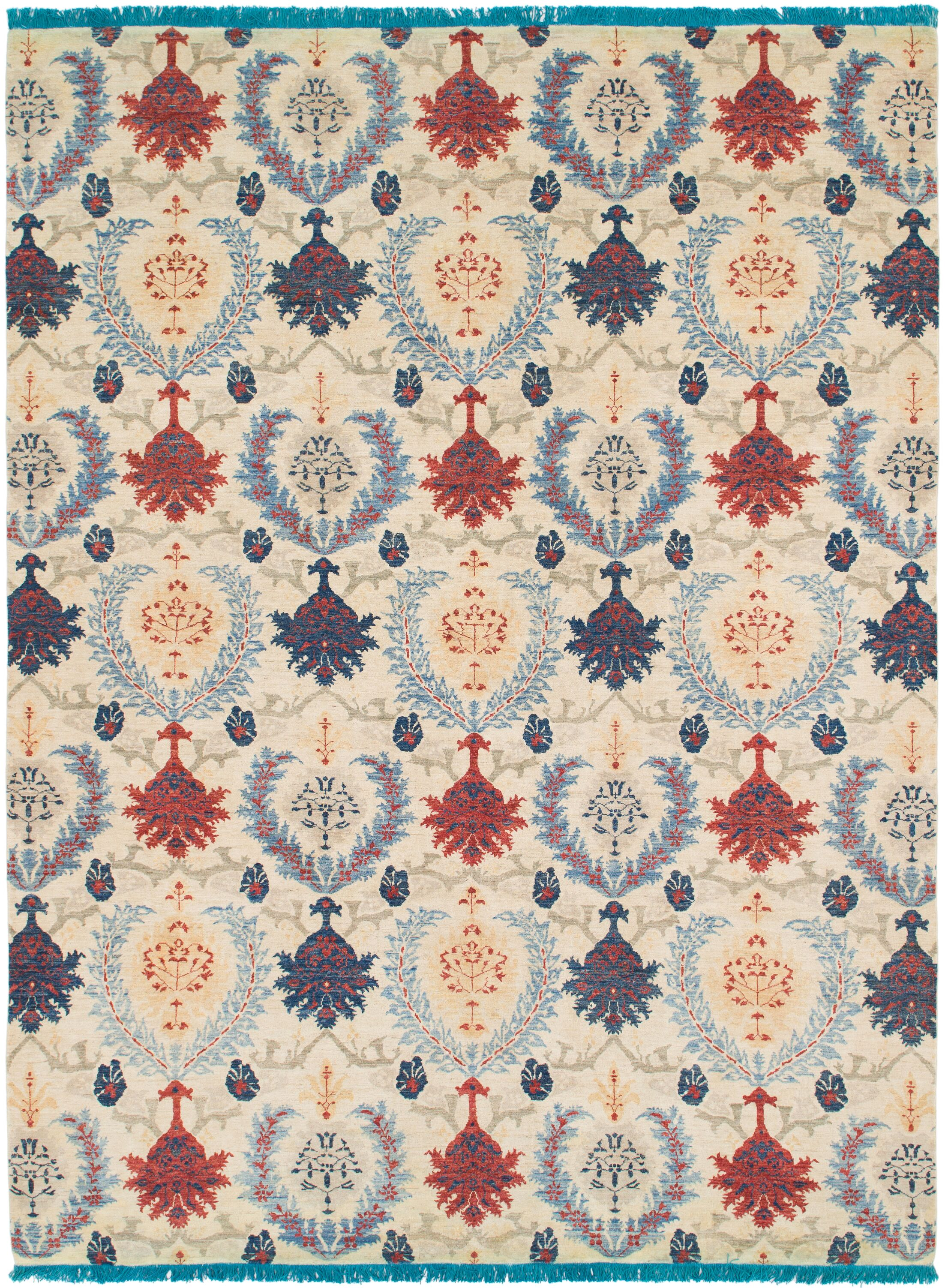 One-of-a-Kind Huntingdon Hand-Knotted Wool Beige/Blue/Red Area Rug