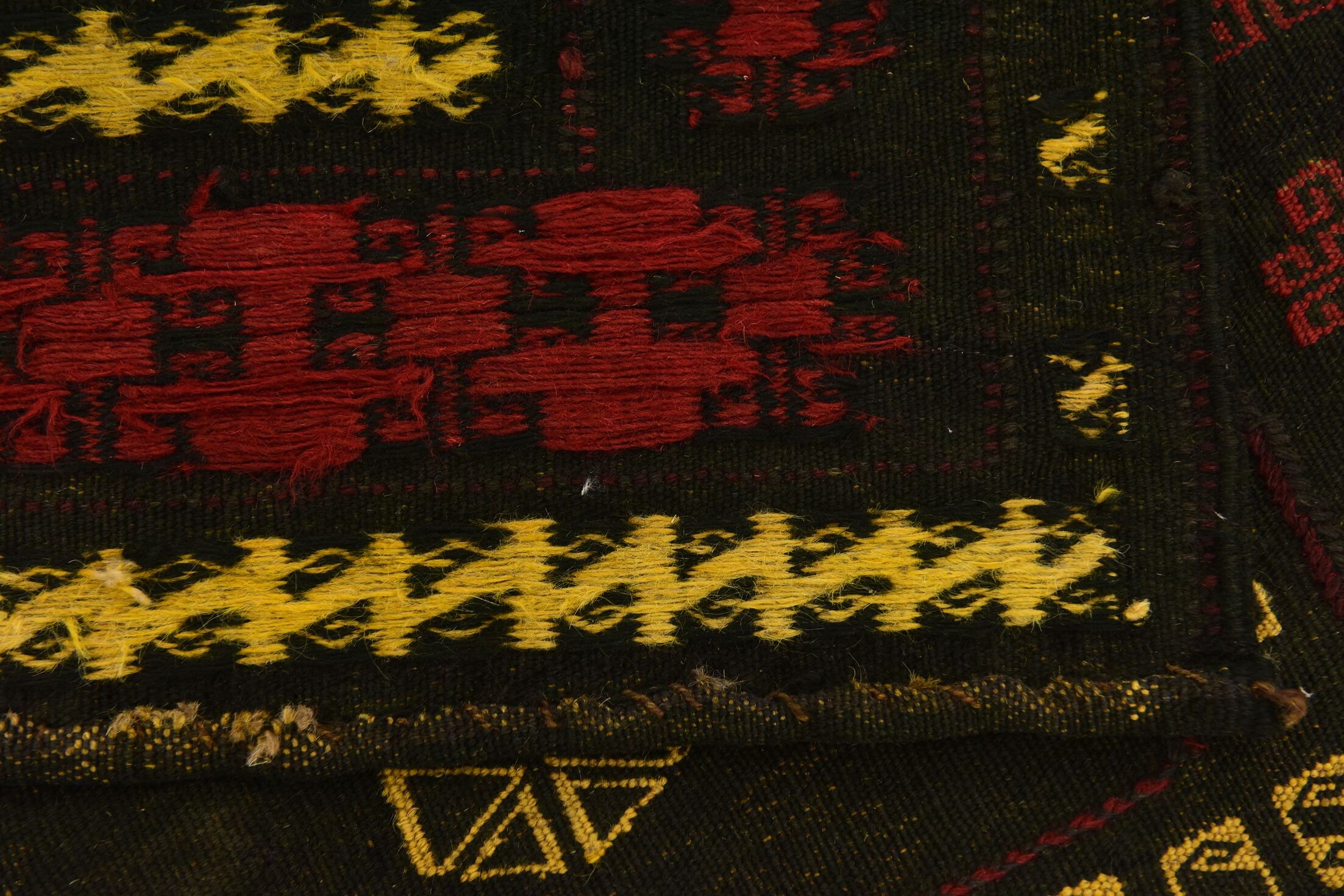 One-of-a-Kind Earley Hand-Knotted Wool Black/Red Area Rug