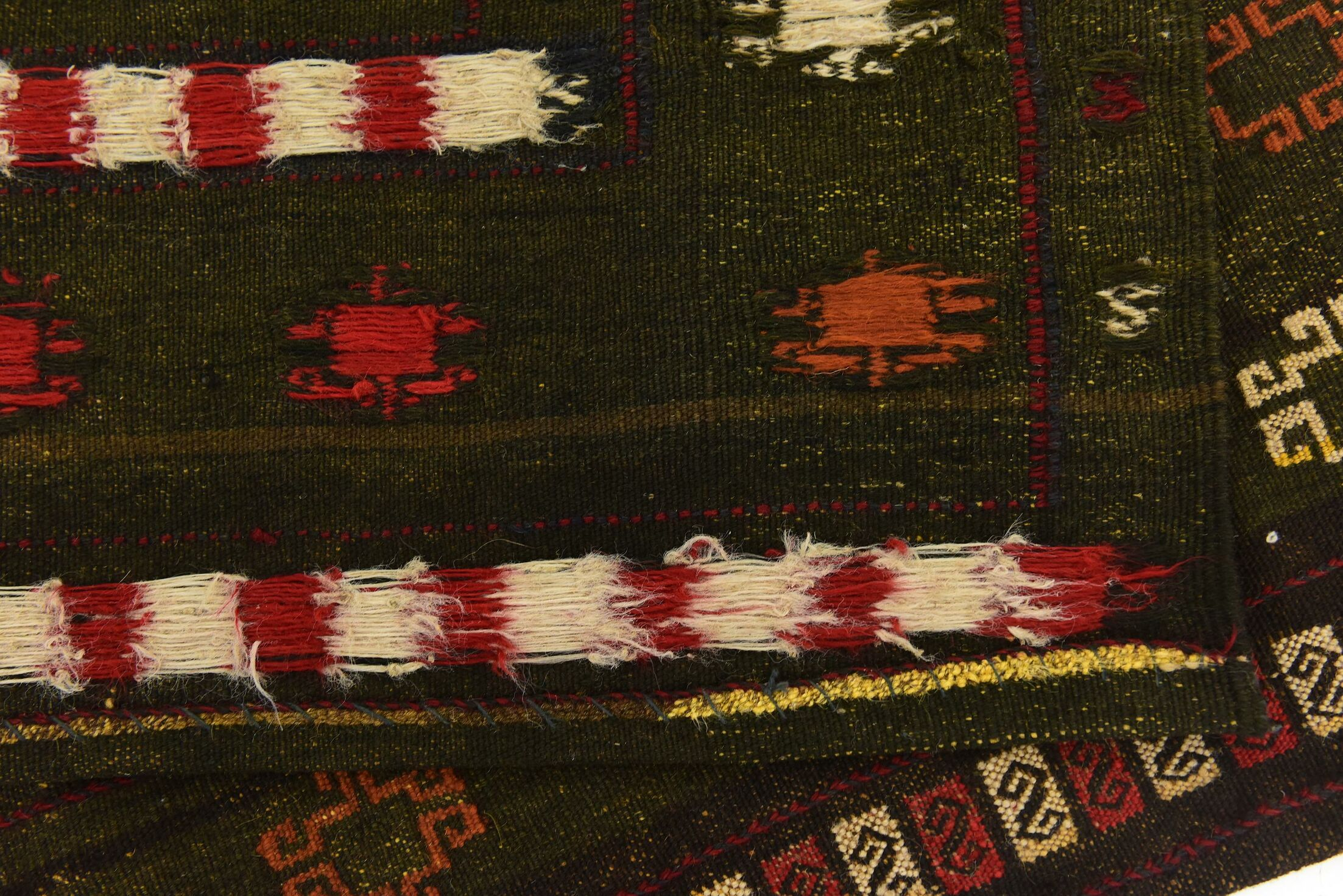 One-of-a-Kind Earley Hand-Knotted Wool Green/Red Area Rug