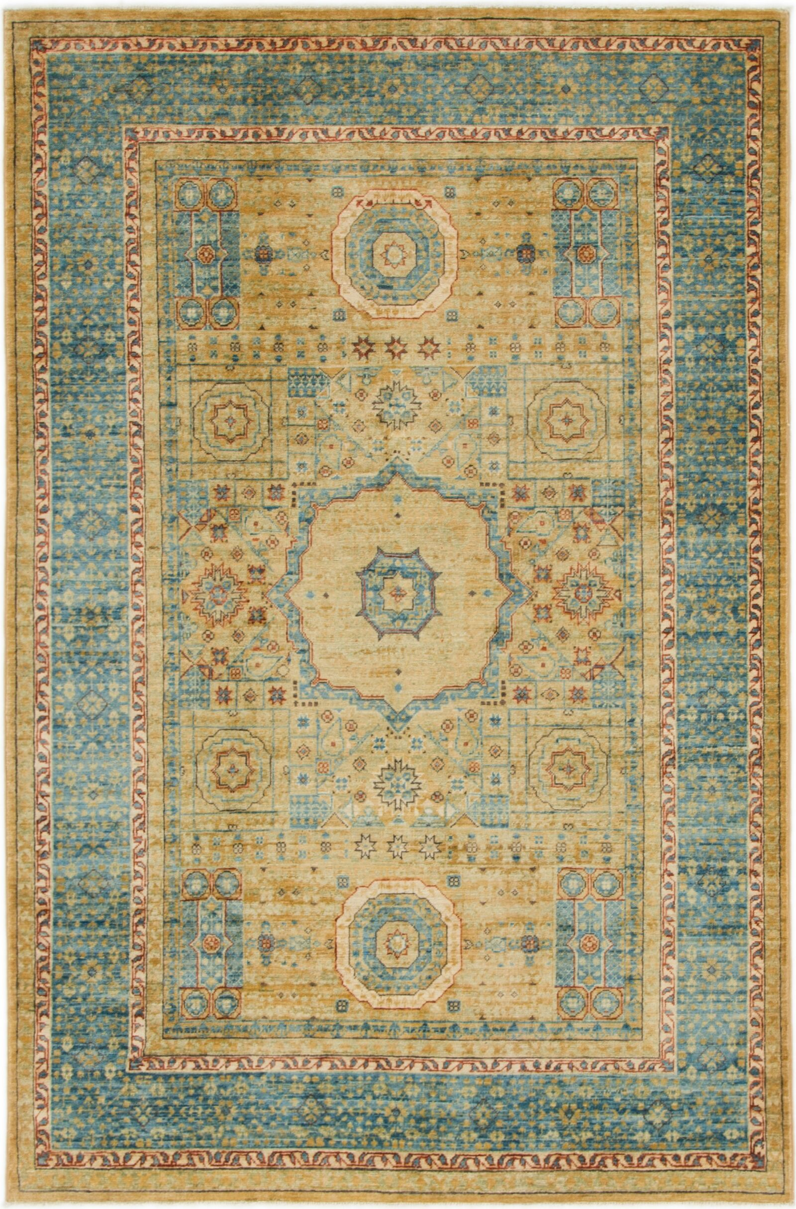 One-of-a-Kind Hungerford Hand-Knotted Wool Blue/Yellow Area Rug
