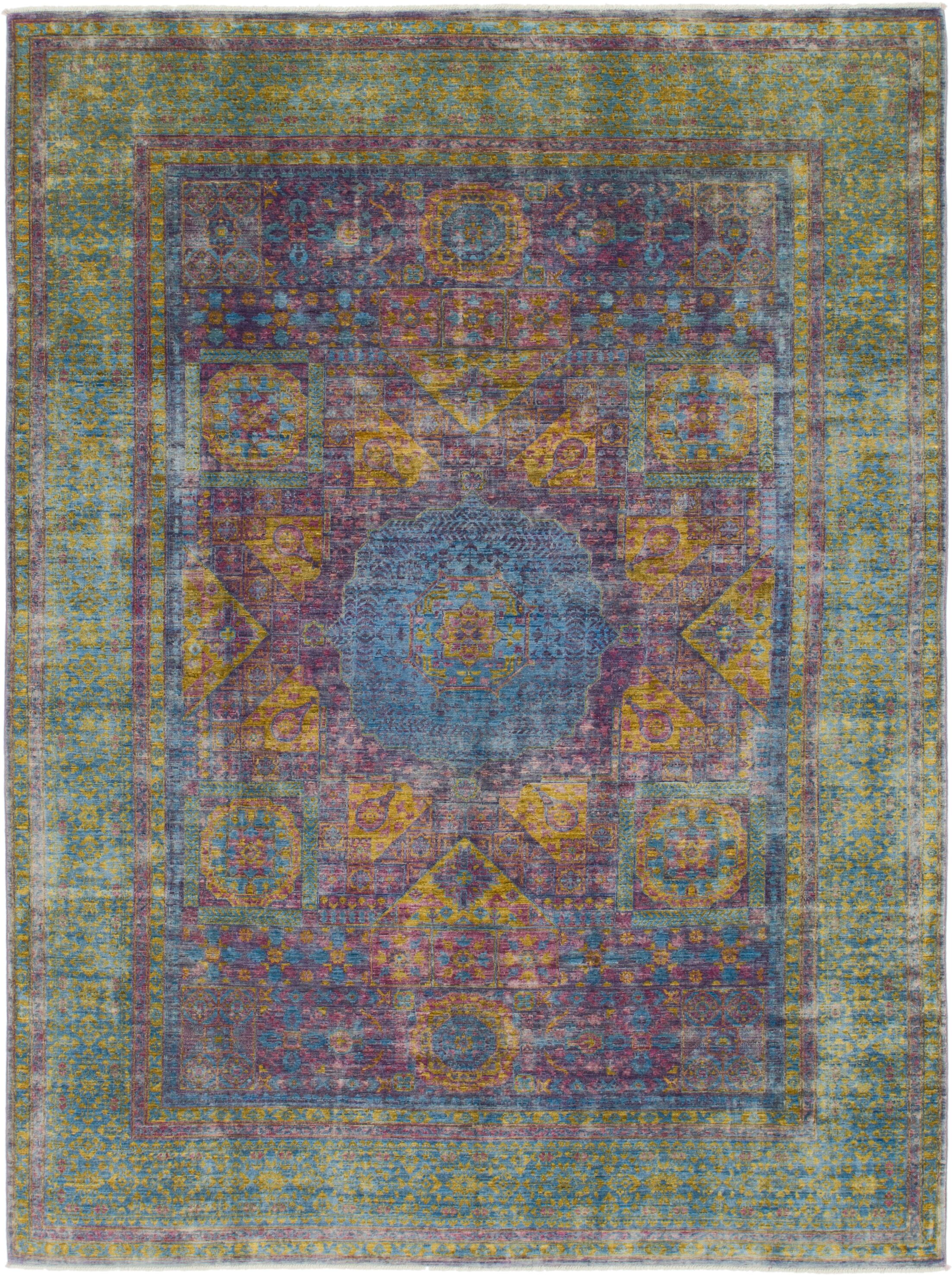 One-of-a-Kind Hungerford Hand-Knotted Wool Green/Purple Area Rug