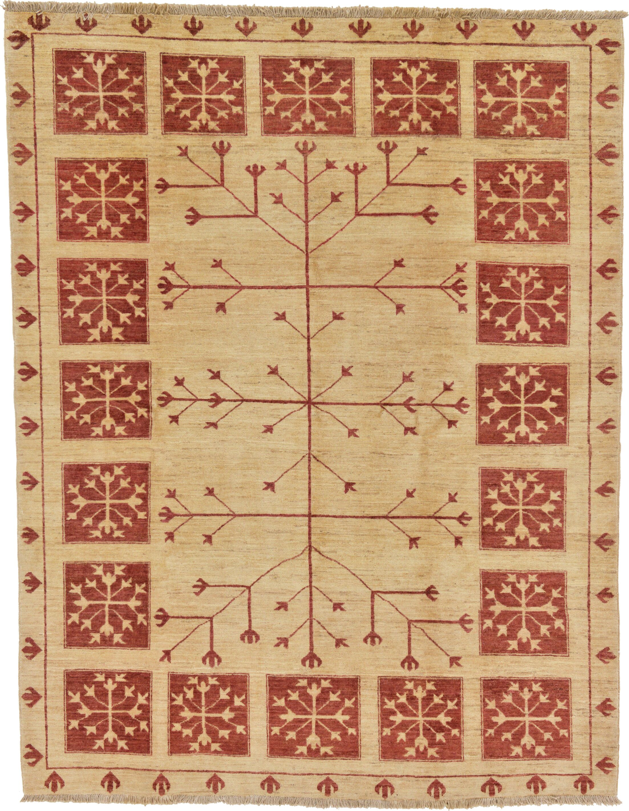 One-of-a-Kind Nash Hand-Knotted Wool Beige/Red Area Rug