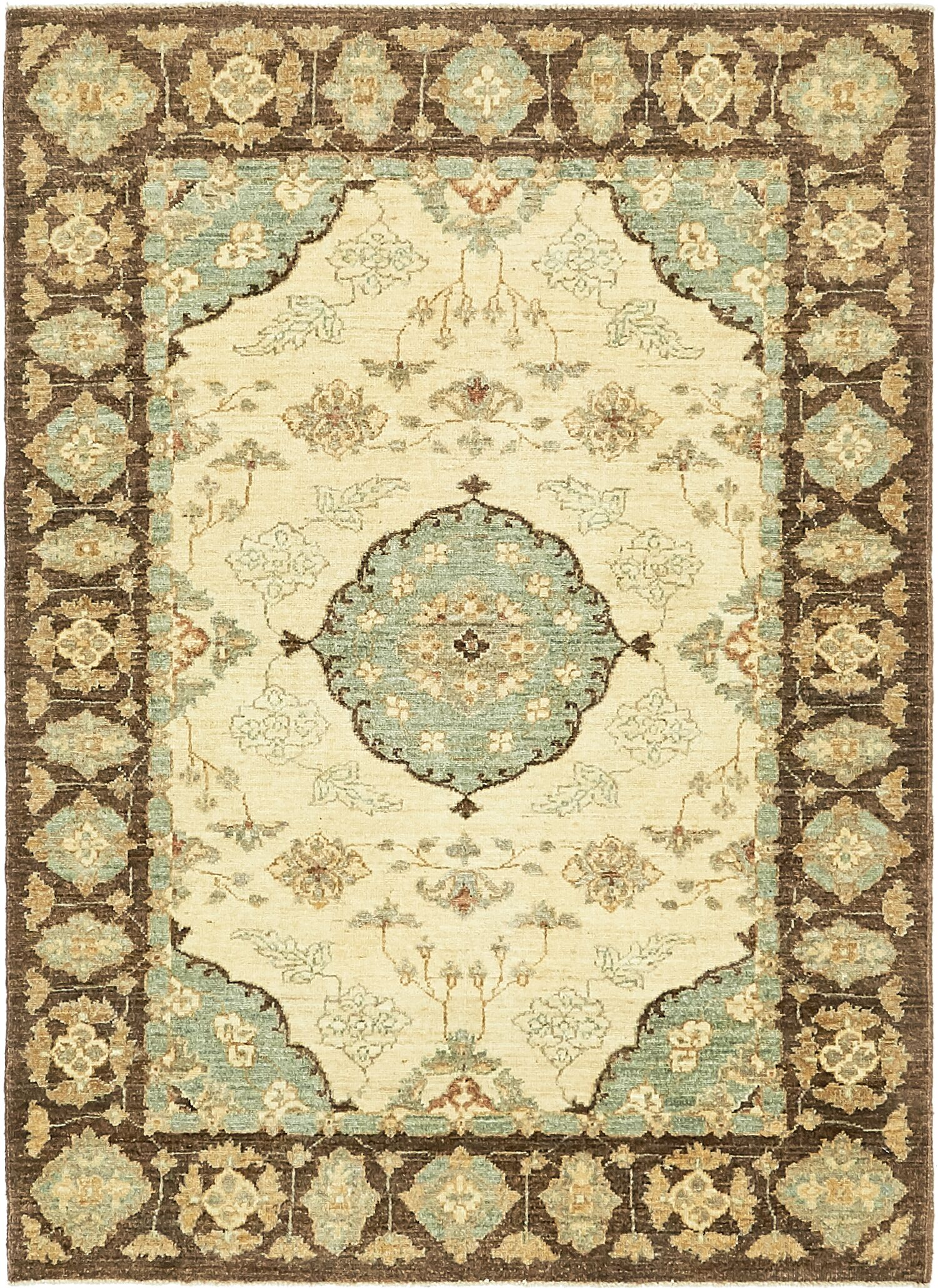 One-of-a-Kind Huntingdon Hand-Knotted Wool Beige/Brown/Blue Area Rug