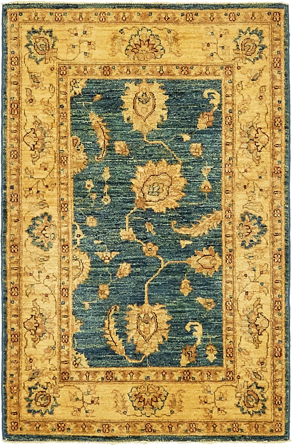 One-of-a-Kind Huntingdon Hand-Knotted Wool Blue/Beige Area Rug
