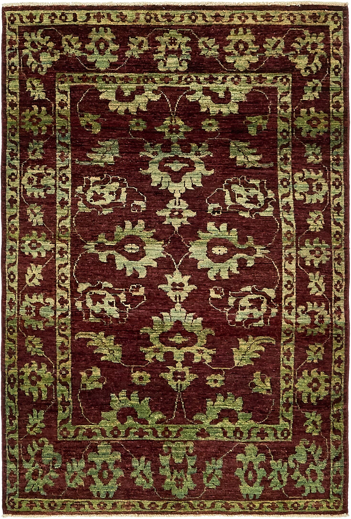 One-of-a-Kind Huntingdon Hand-Knotted Wool Red/Green Area Rug