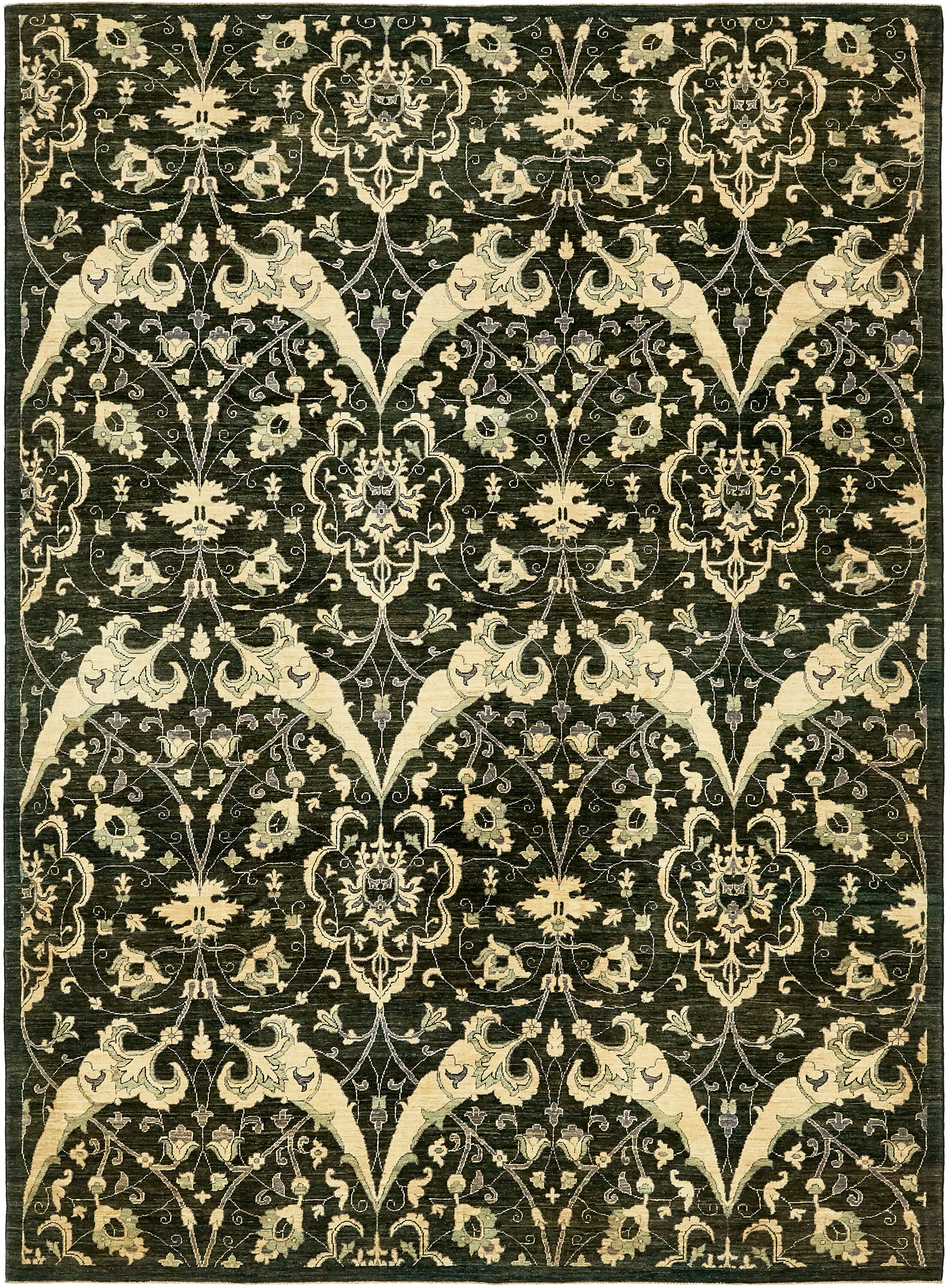 One-of-a-Kind Huntingdon Hand-Knotted Wool Green Area Rug