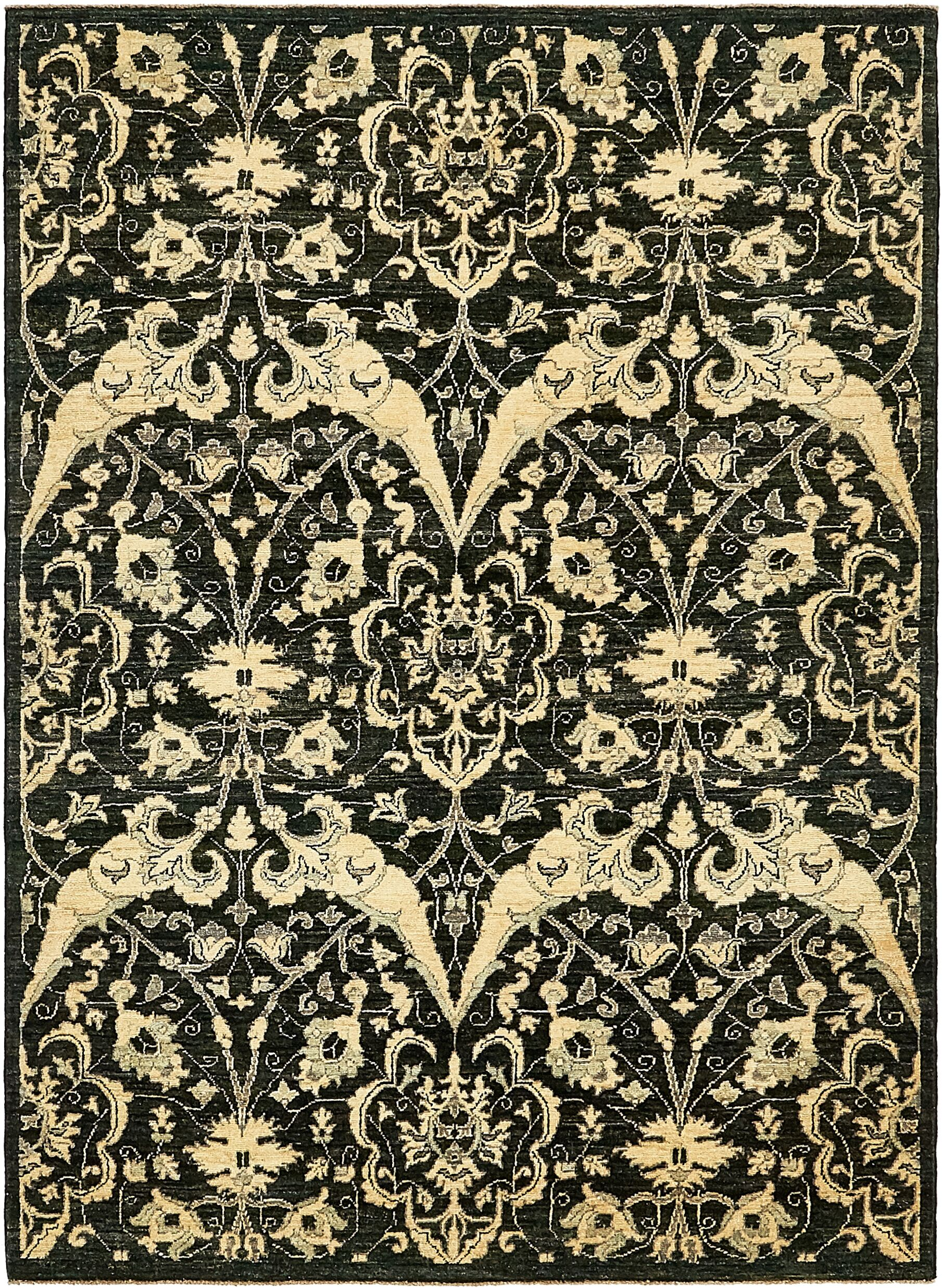 One-of-a-Kind Huntingdon Hand-Knotted Wool Black/Beige Area Rug
