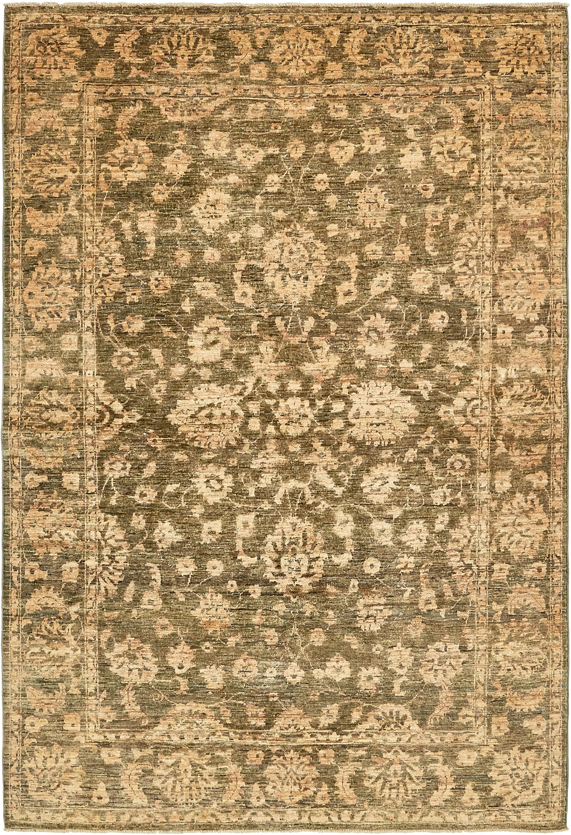 One-of-a-Kind Huntingdon Hand-Knotted Wool Beige/Green Area Rug