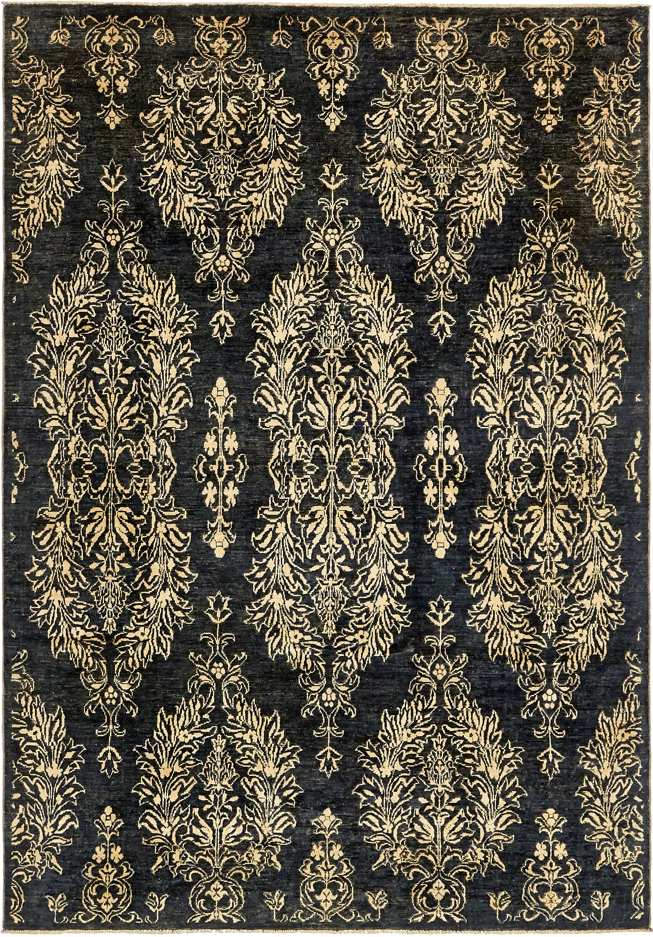 One-of-a-Kind Huntingdon Hand-Knotted Wool Black Area Rug
