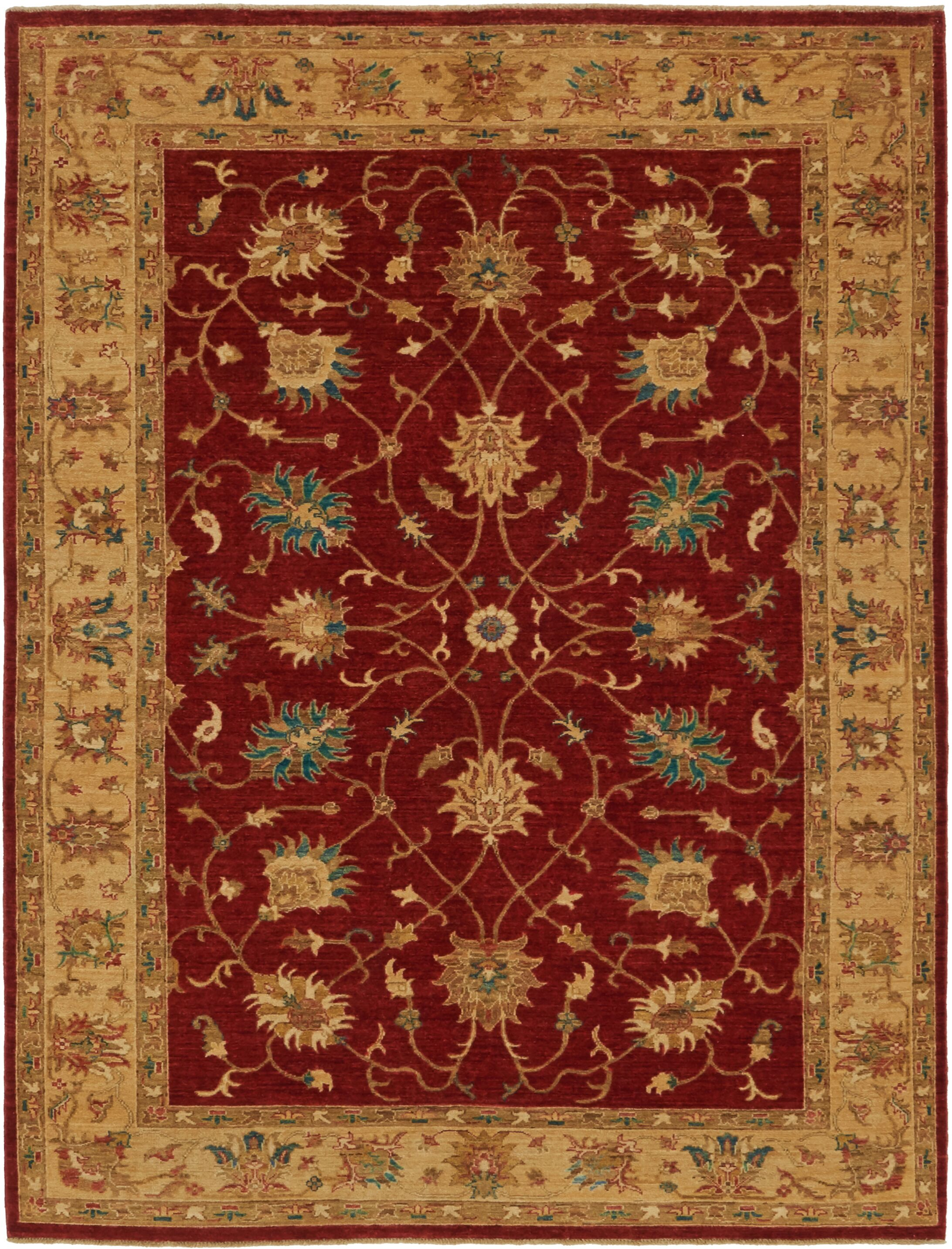 One-of-a-Kind Huntingdon Hand-Knotted Wool Beige/Red Area Rug