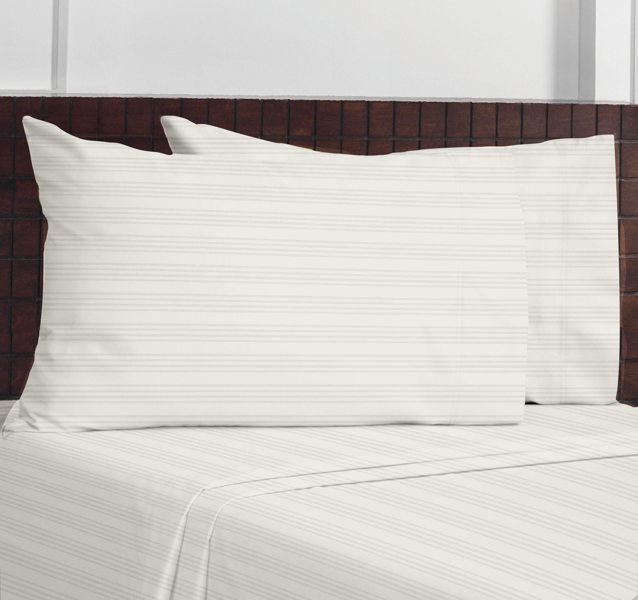 Edmont Stripes 100% Cotton Sheet Set Size: King, Color: White