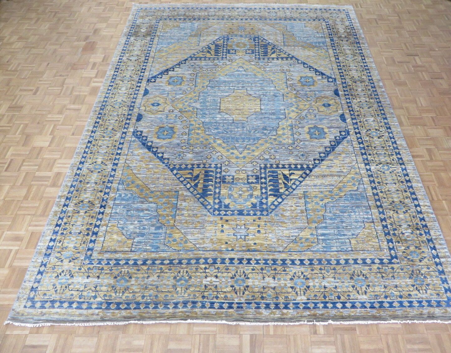 One-of-a-Kind Best Fine Hand-Knotted Wool Gray/Blue Area Rug