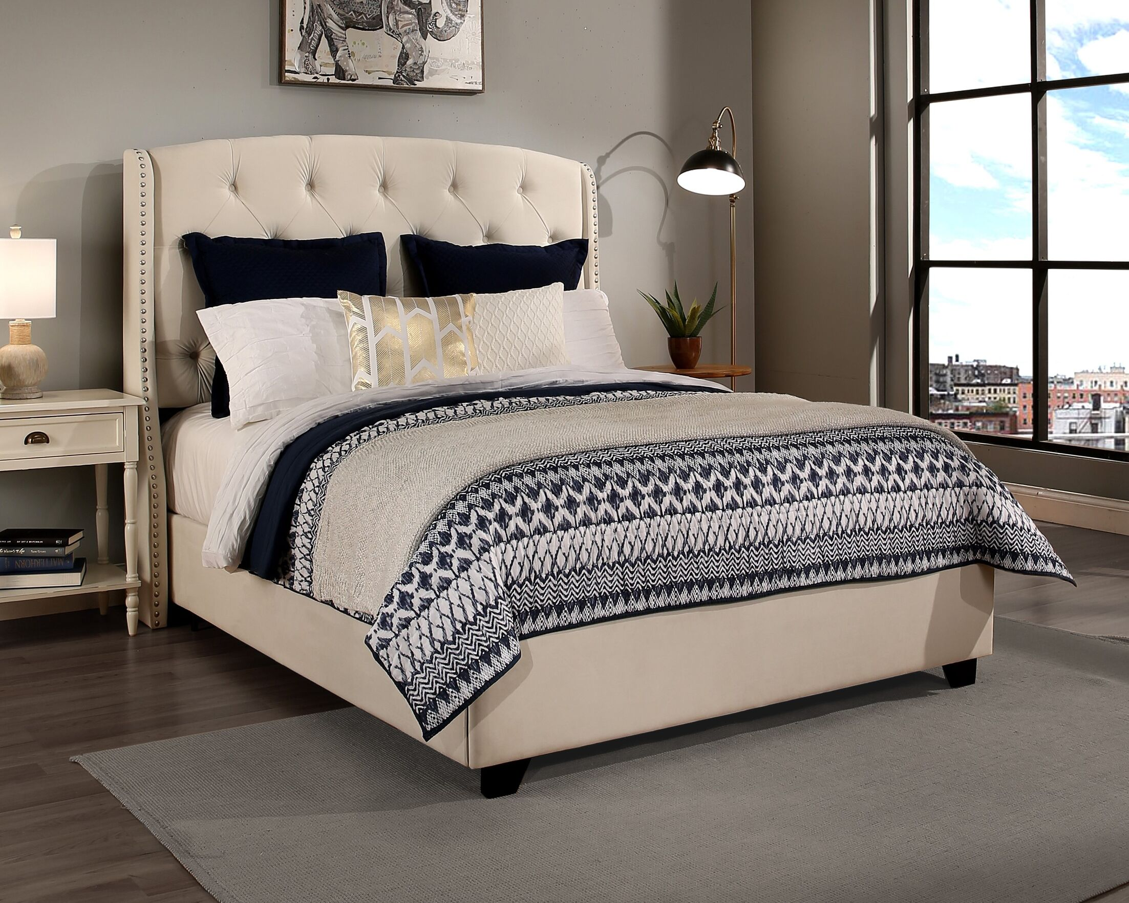 Chenery Upholstered Platform Bed Color: Ivory, Size: California King