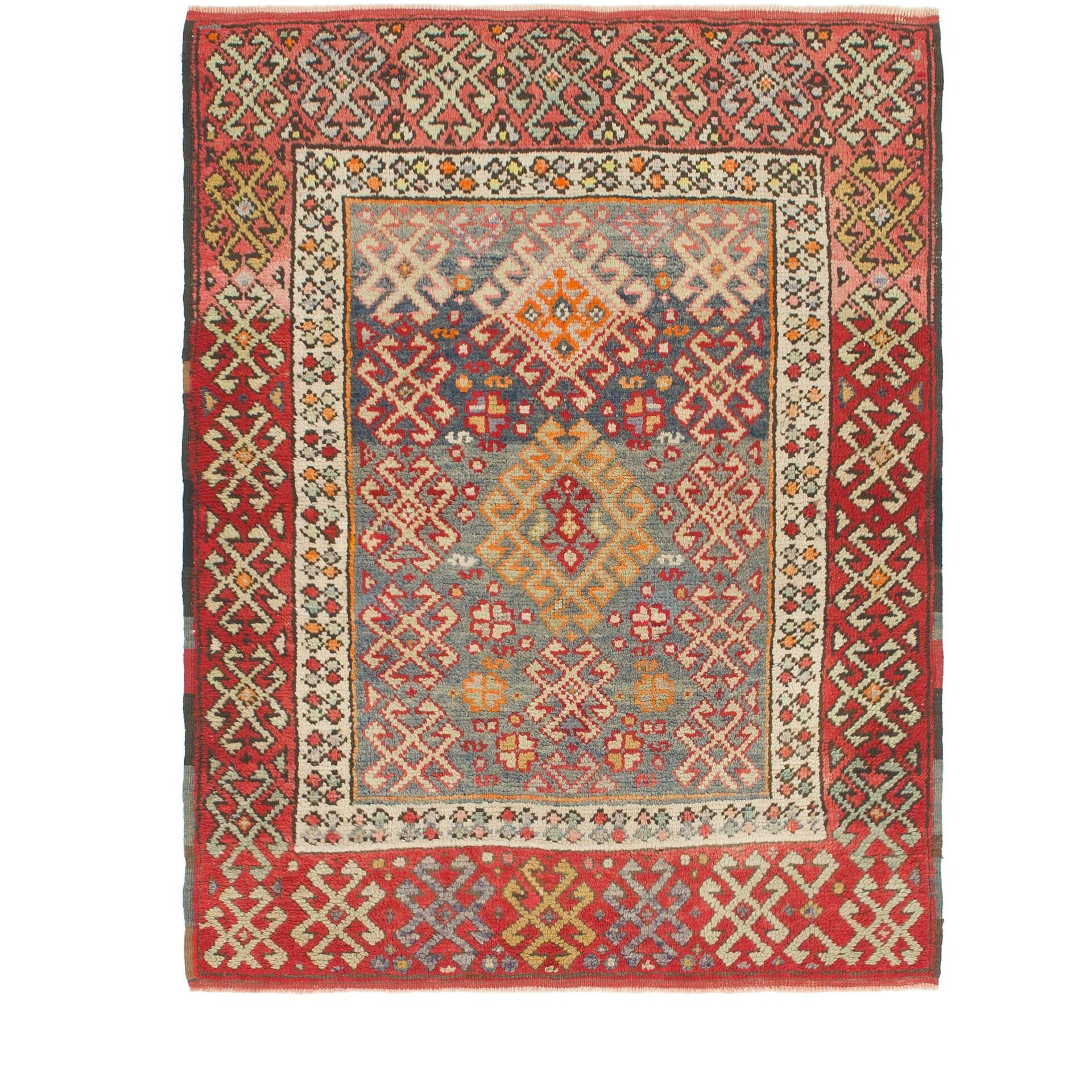 One-of-a-Kind Diana Hand-Knotted Wool Red/Beige Area Rug