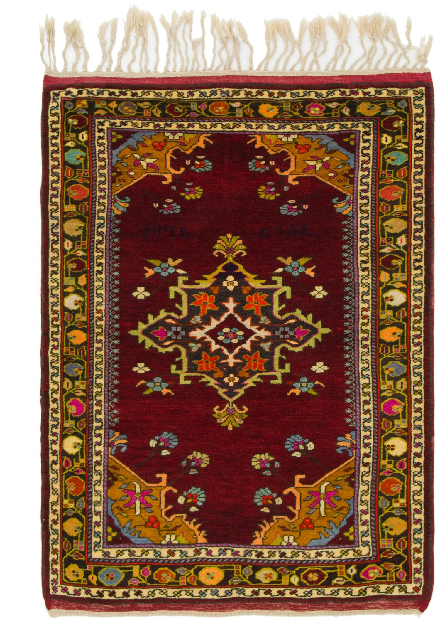 One-of-a-Kind Diana Hand-Knotted Wool Burgundy Area Rug