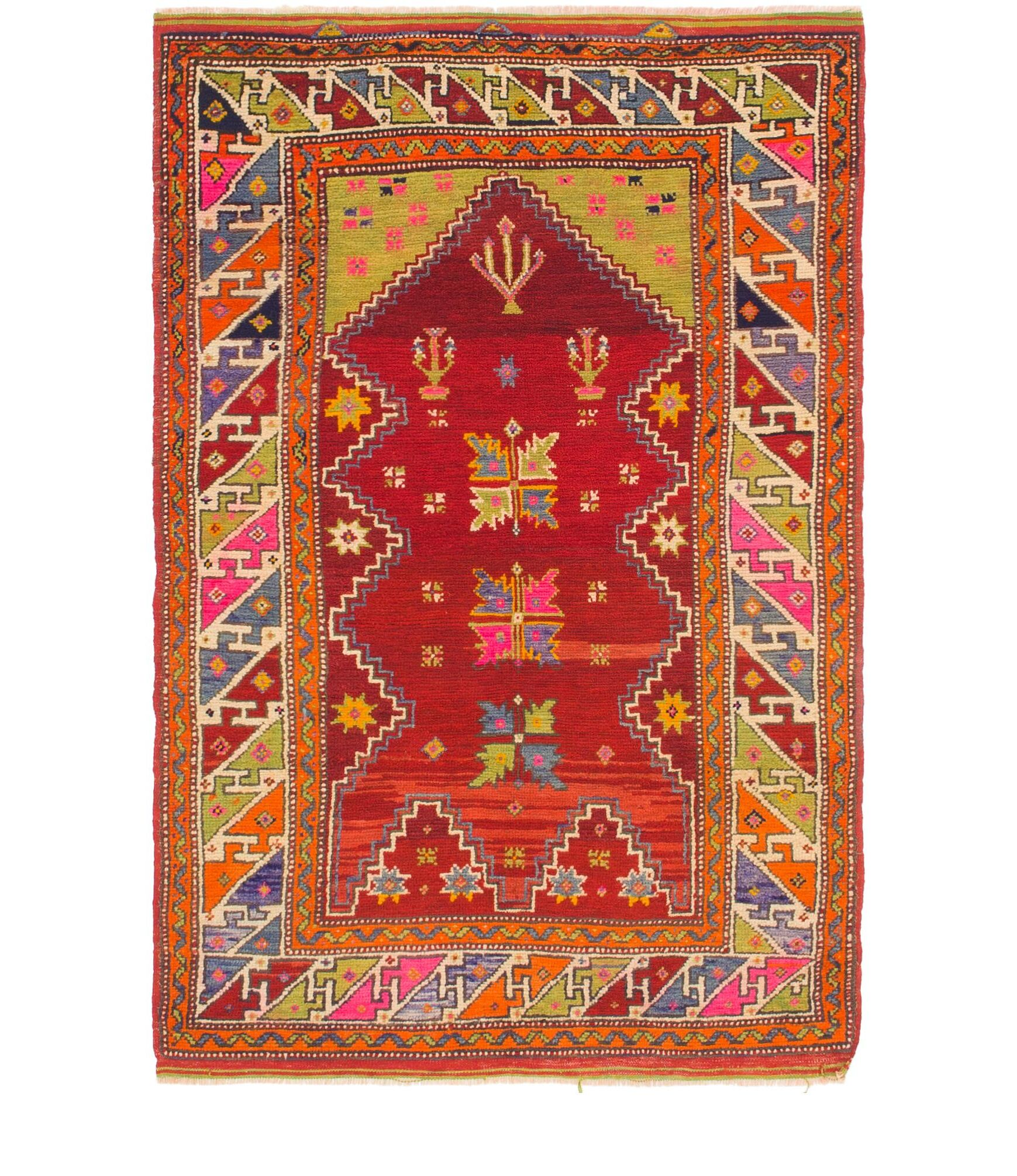 One-of-a-Kind Diana Hand-Knotted Wool Red/Green Area Rug