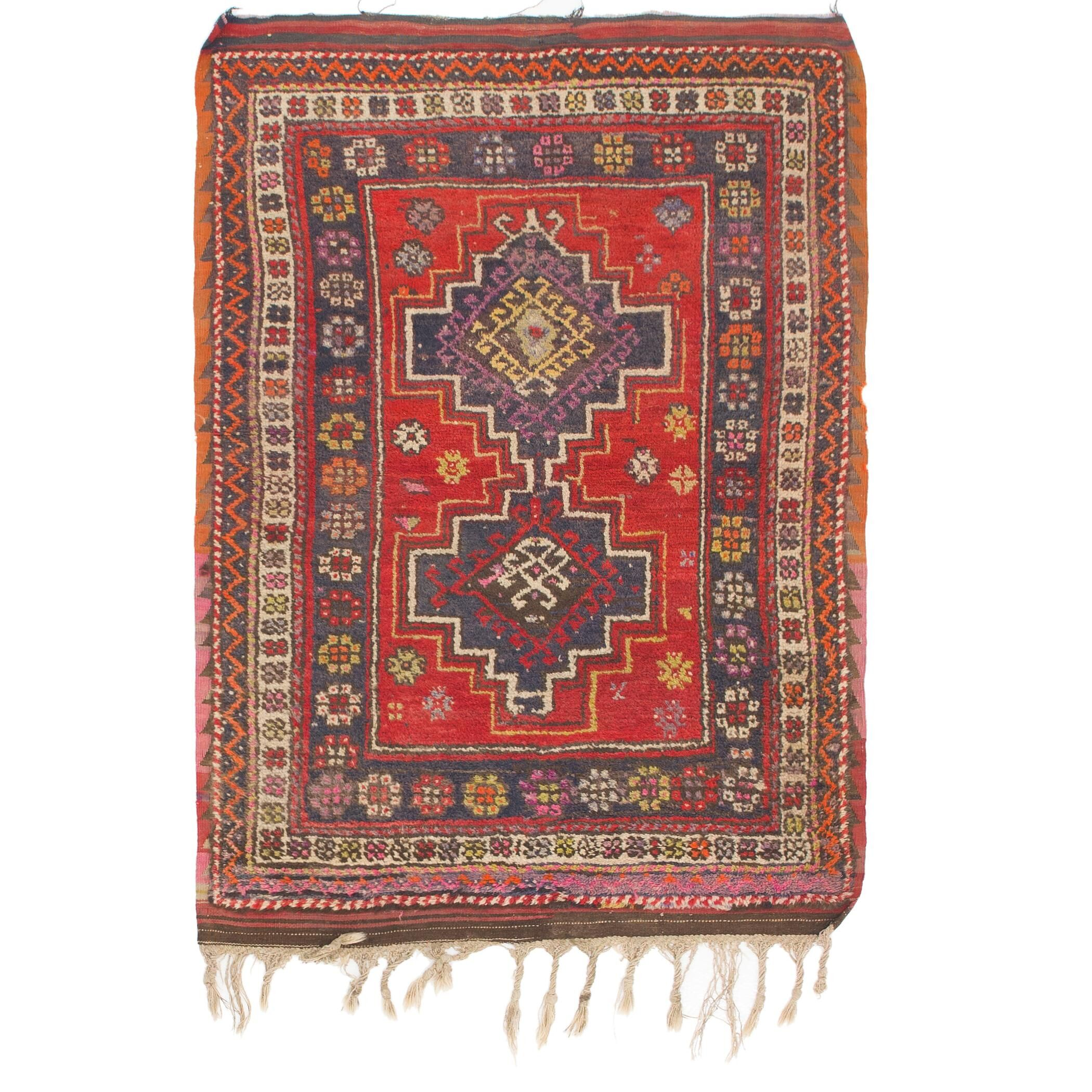 One-of-a-Kind Diana Hand-Knotted Wool Red/Blue Area Rug