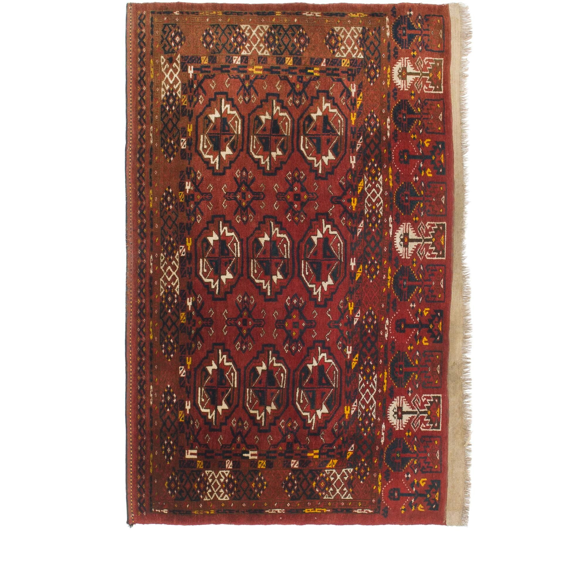 One-of-a-Kind Tekke Hand-Knotted Wool Red Area Rug