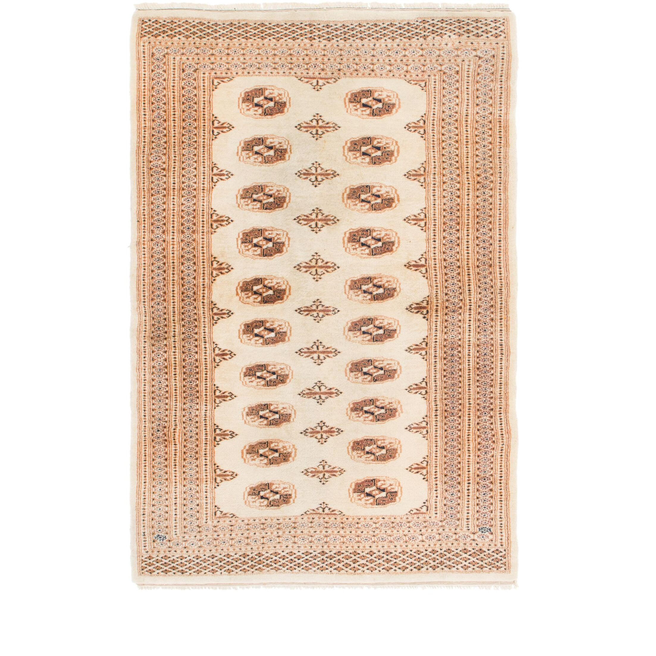 One-of-a-Kind Tekke Hand-Knotted Wool Cream Area Rug