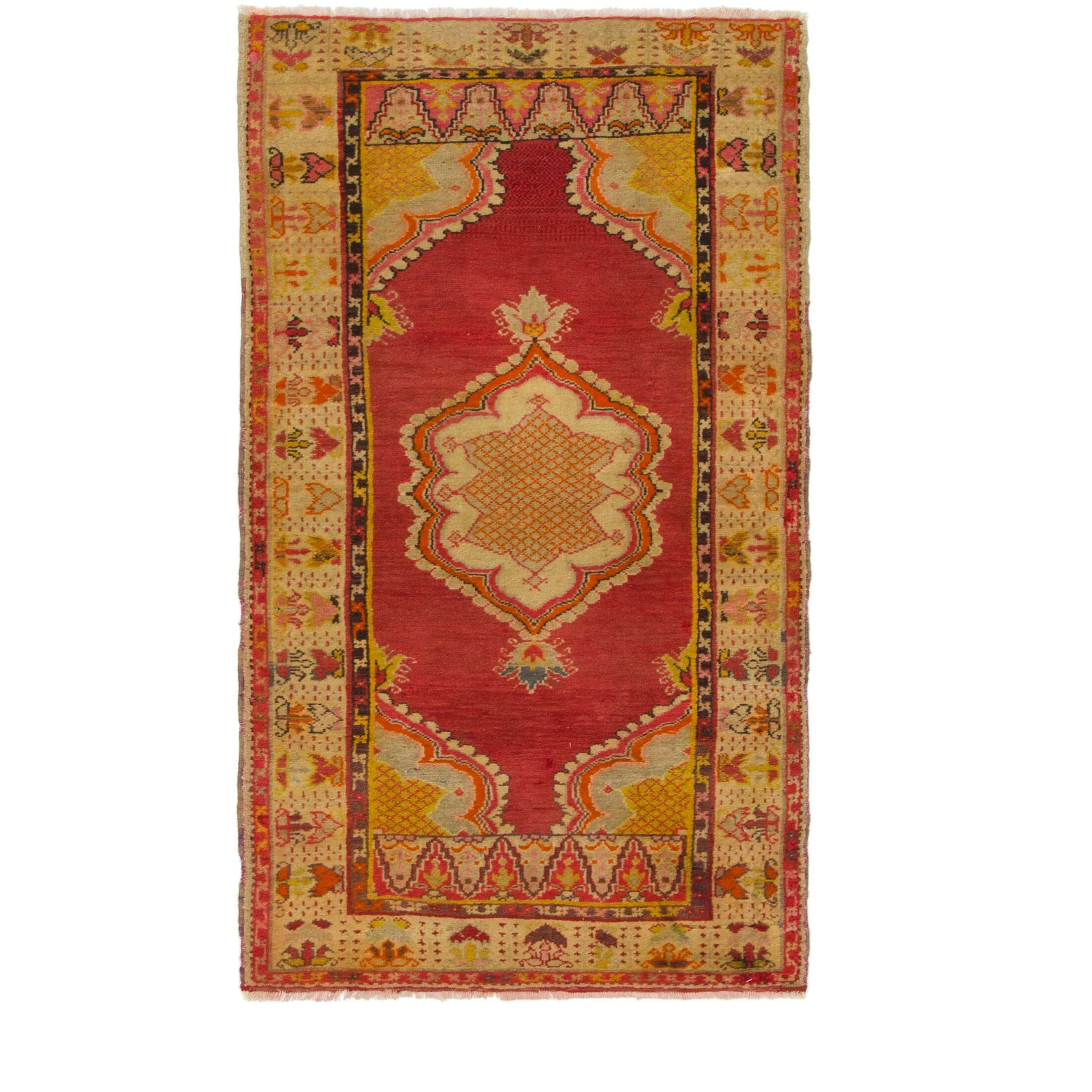 One-of-a-Kind Diana Hand-Knotted Wool Red/Yellow Area Rug