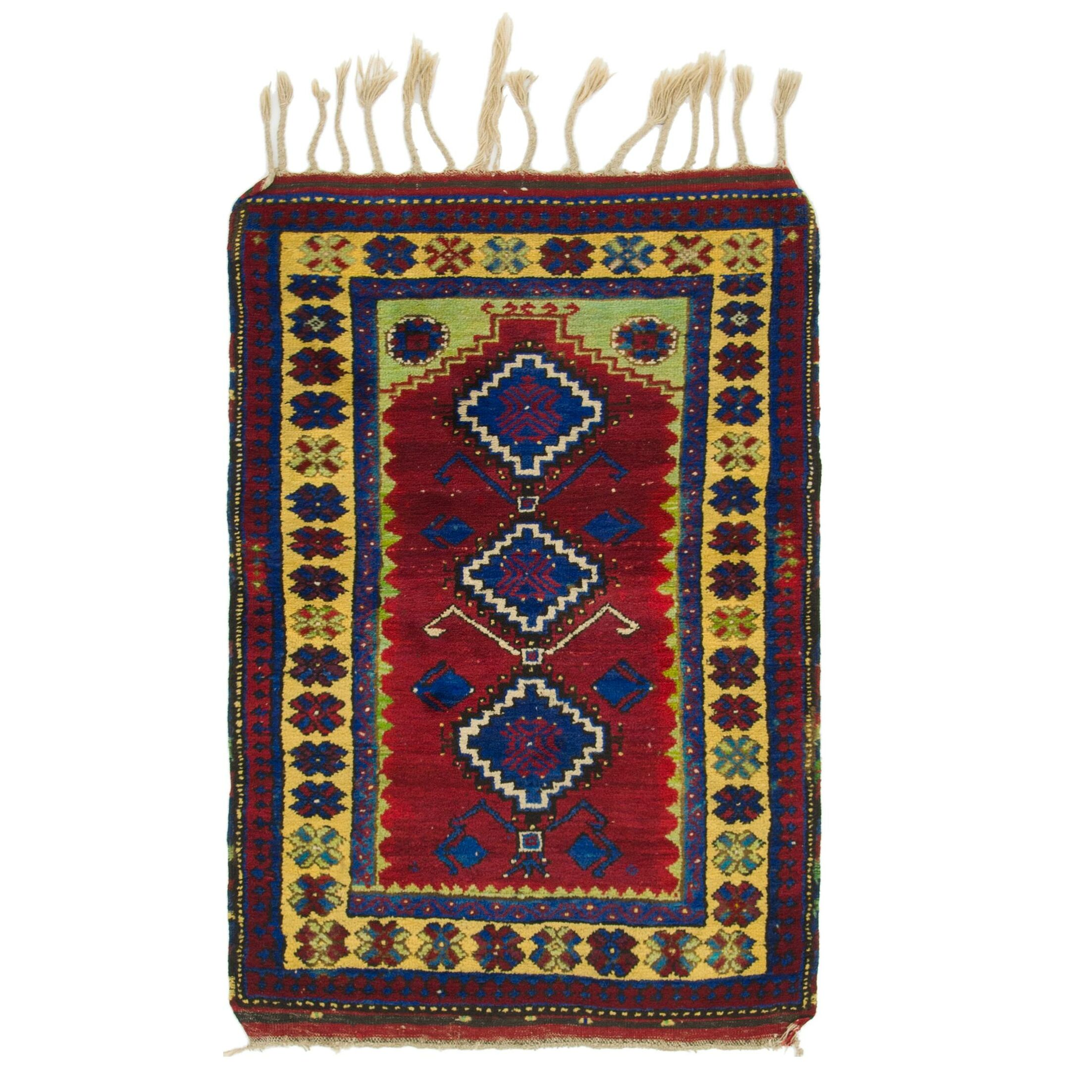 One-of-a-Kind Diana Hand-Knotted Wool Burgundy/Yellow Area Rug