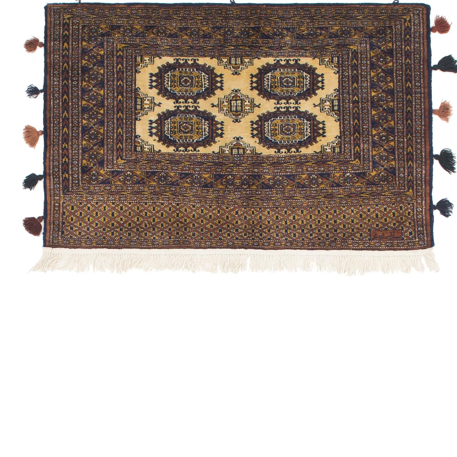 One-of-a-Kind Tekke Hand-Knotted Wool Cream/Brown Area Rug