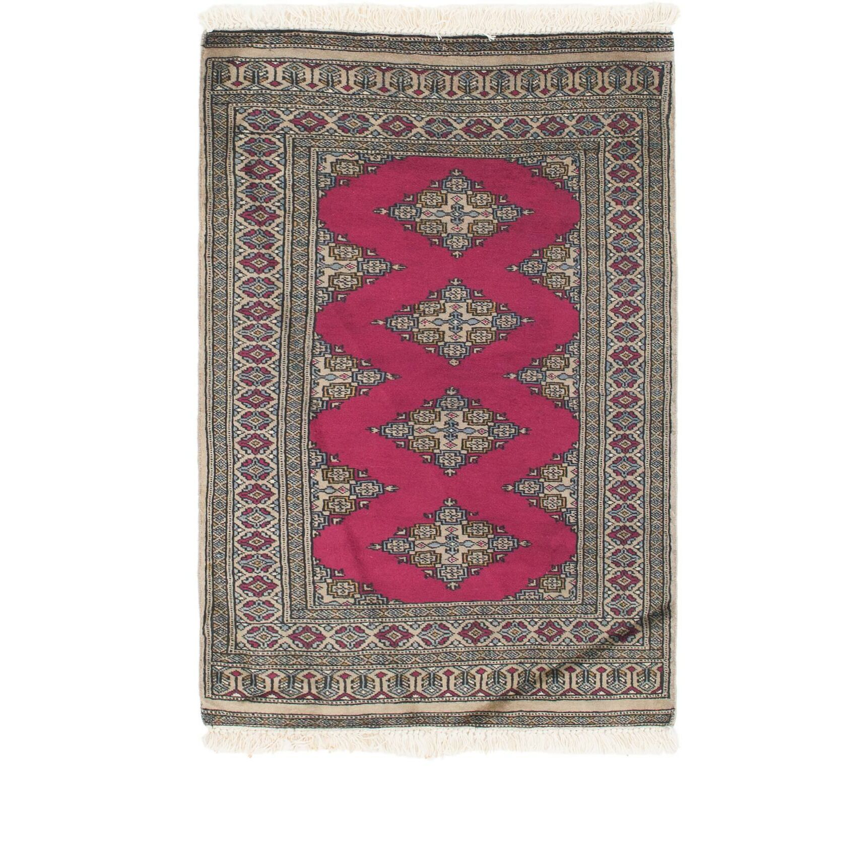 One-of-a-Kind Tekke Hand-Knotted Wool Pink/Gray Area Rug