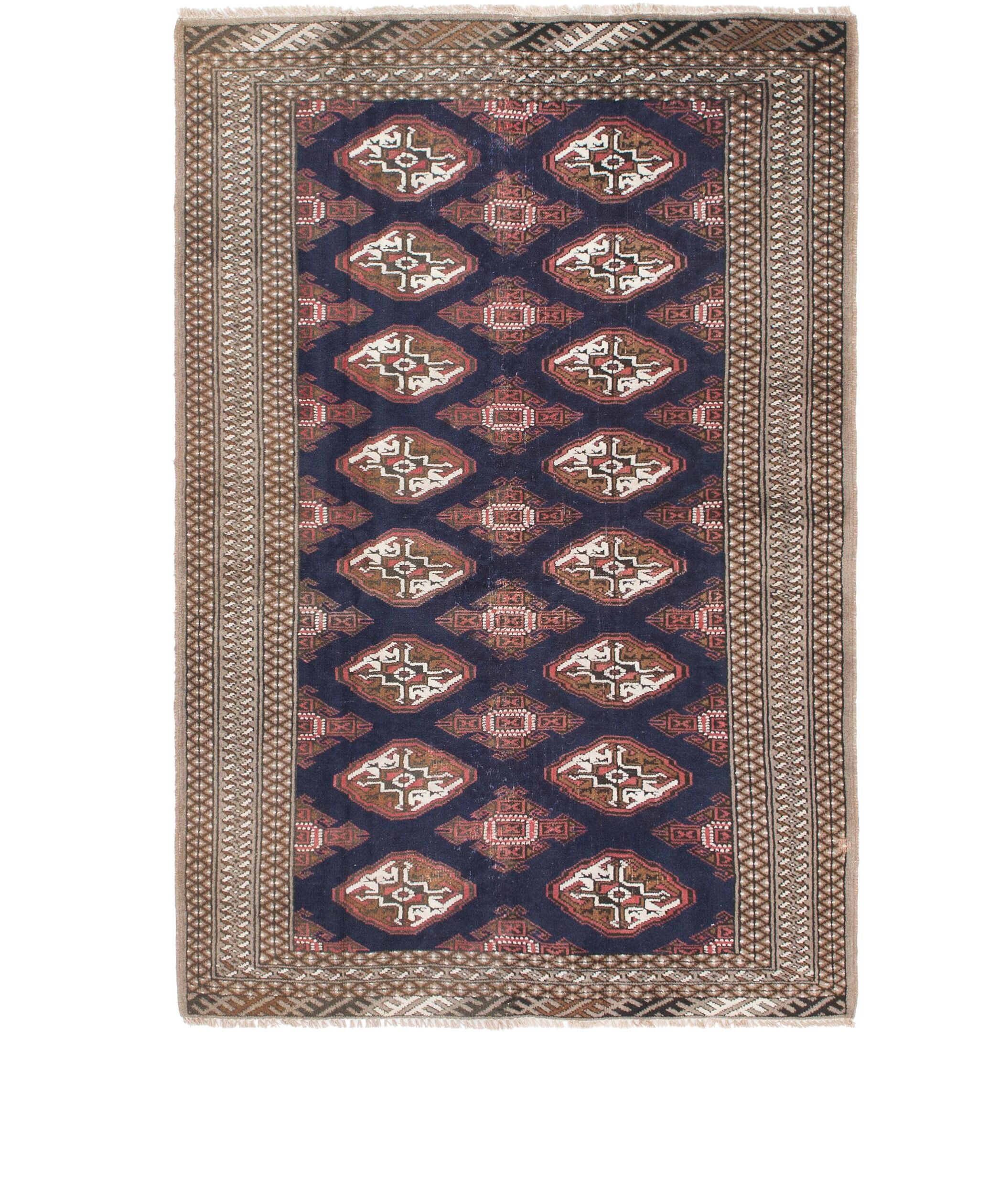 One-of-a-Kind Tekke Hand-Knotted Wool Gray/Navy Blue Area Rug