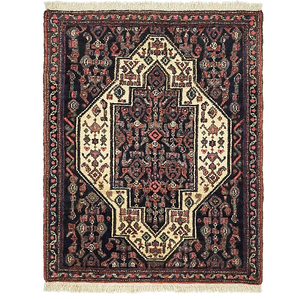 One-of-a-Kind Dunwich Hand-Knotted Wool Navy Blue Area Rug