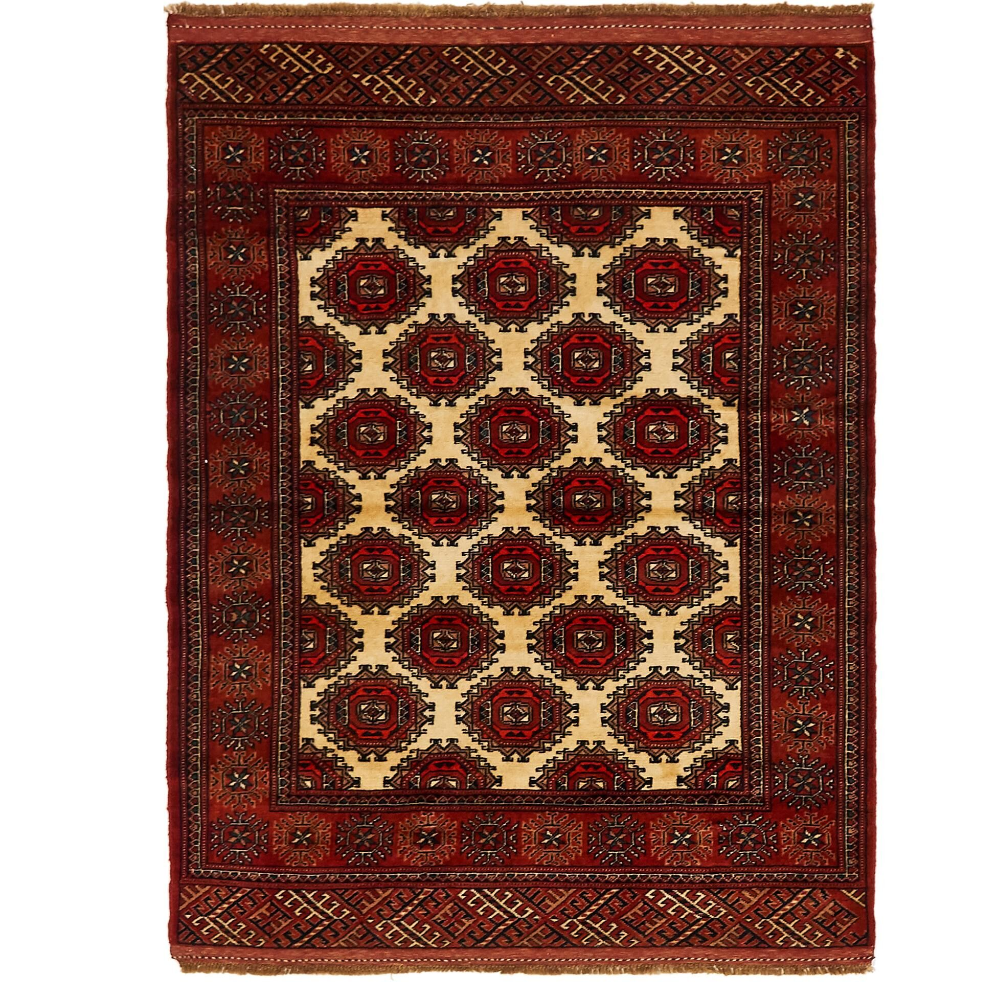 One-of-a-Kind Tekke Hand-Knotted Wool Ivory/Red Area Rug