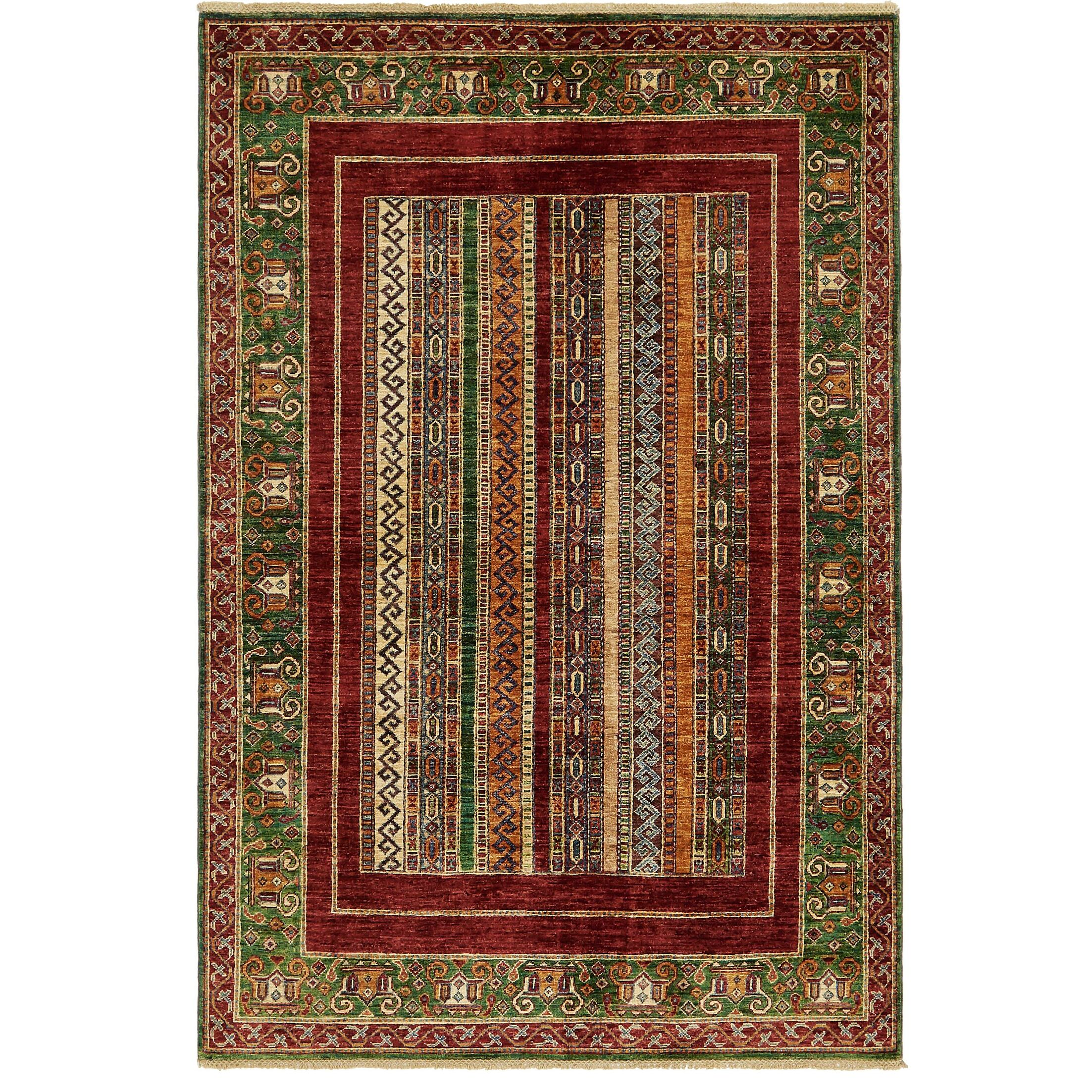 One-of-a-Kind Denver Hand-Knotted Wool Green/Red Area Rug