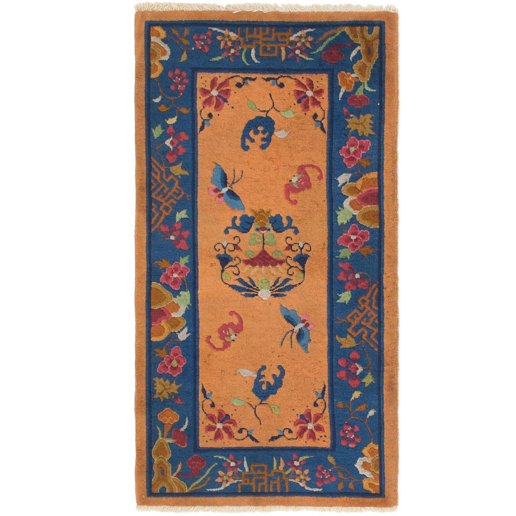 One-of-a-Kind Lakendra Antique Hand-Knotted Wool Orange/Blue Area Rug